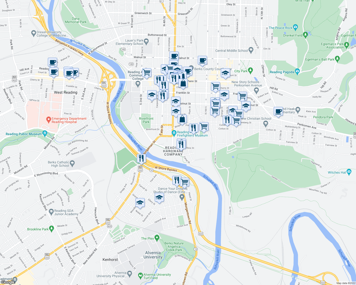 map of restaurants, bars, coffee shops, grocery stores, and more near 555 Pearl Street in Reading