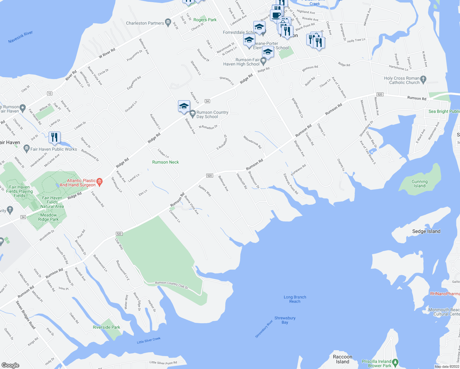 map of restaurants, bars, coffee shops, grocery stores, and more near 63 Bellevue Avenue in Rumson