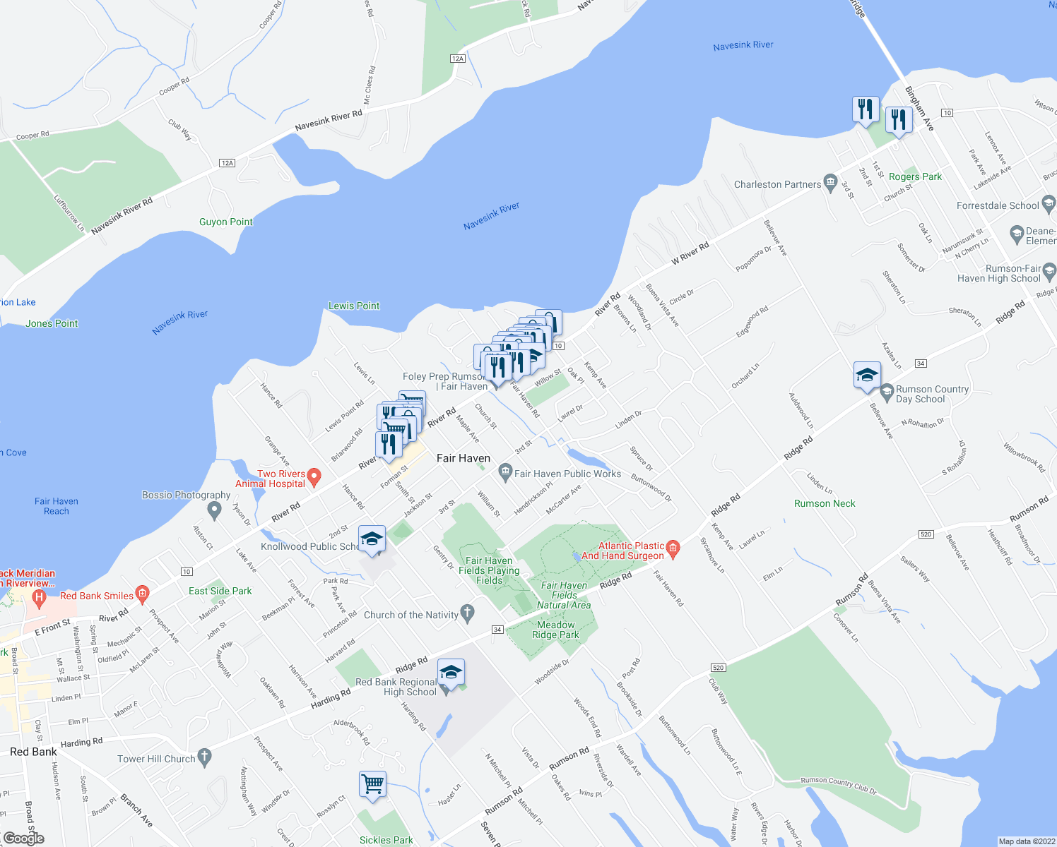map of restaurants, bars, coffee shops, grocery stores, and more near 170 Fair Haven Road in Fair Haven