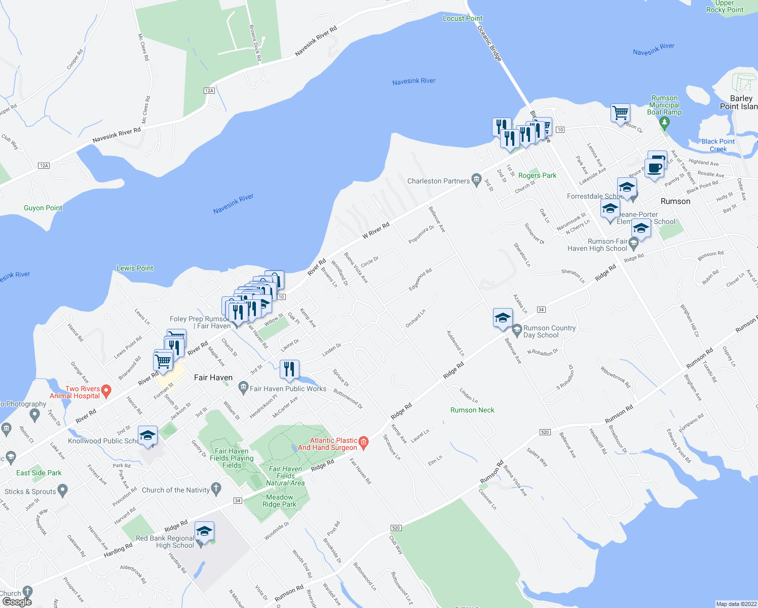 map of restaurants, bars, coffee shops, grocery stores, and more near 126 Buena Vista Avenue in Fair Haven