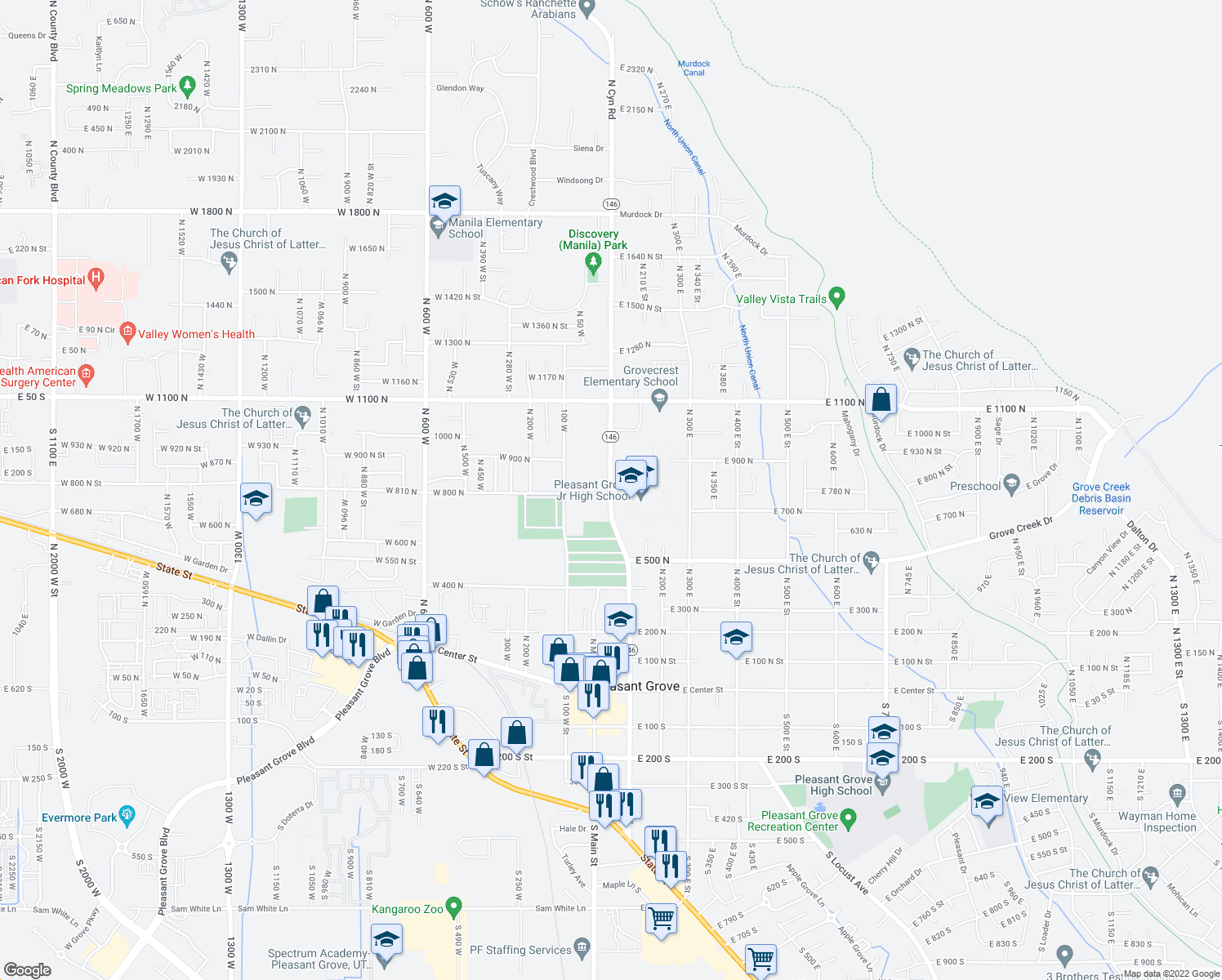 map of restaurants, bars, coffee shops, grocery stores, and more near 860 North 100 East in Pleasant Grove