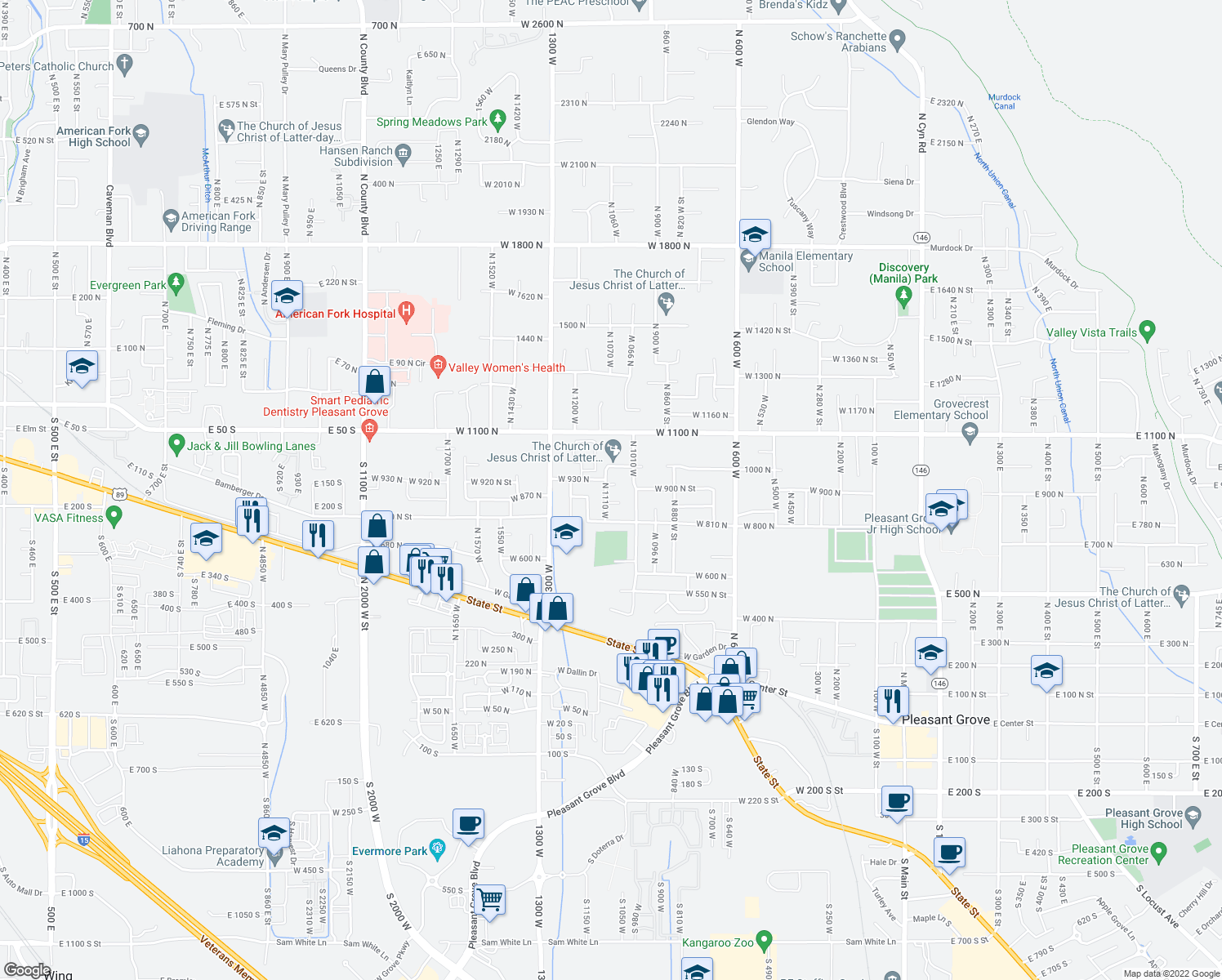 map of restaurants, bars, coffee shops, grocery stores, and more near 1035 West 1000 North in Pleasant Grove