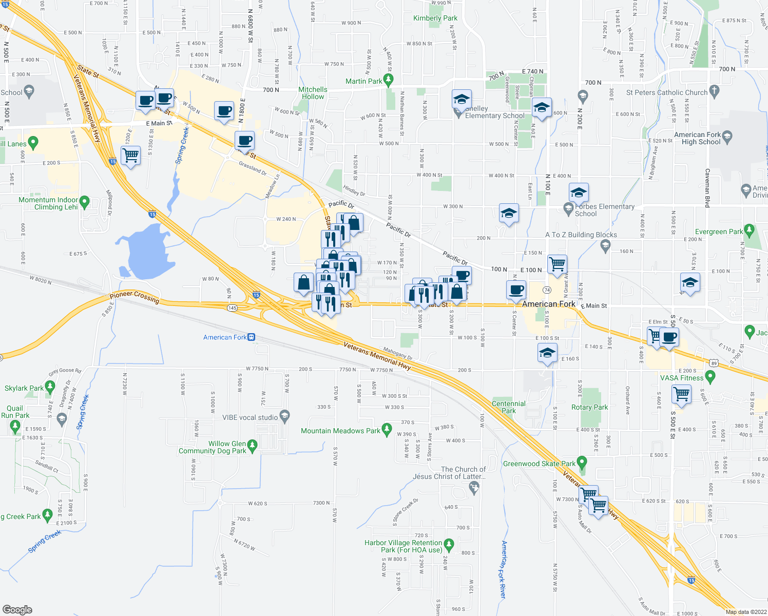 map of restaurants, bars, coffee shops, grocery stores, and more near 411 West Main Street in American Fork