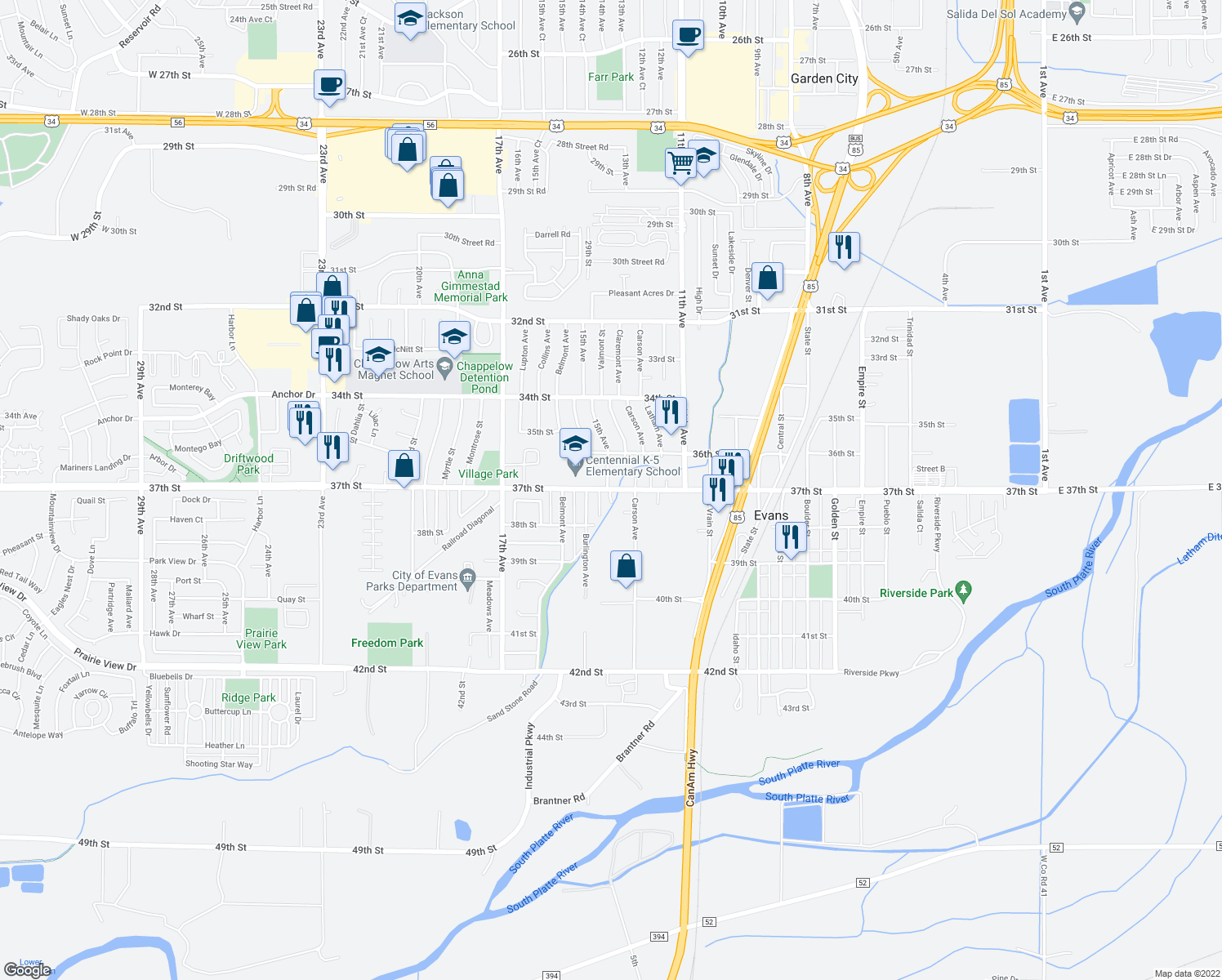map of restaurants, bars, coffee shops, grocery stores, and more near 1320 37th Street in Evans