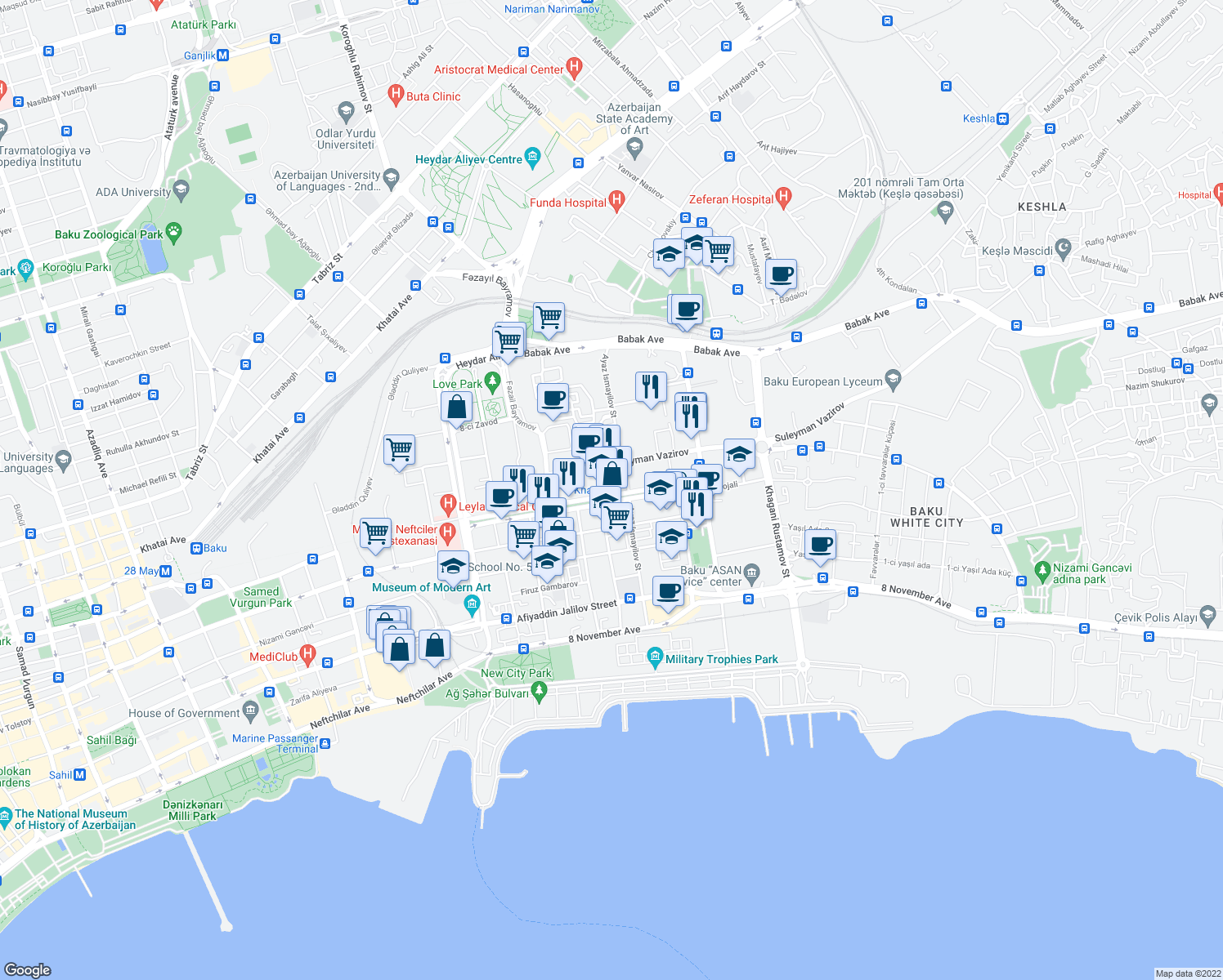 map of restaurants, bars, coffee shops, grocery stores, and more near in Bakı