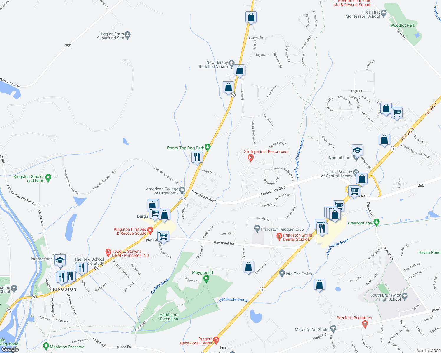 map of restaurants, bars, coffee shops, grocery stores, and more near 1401 Jones Drive in Princeton
