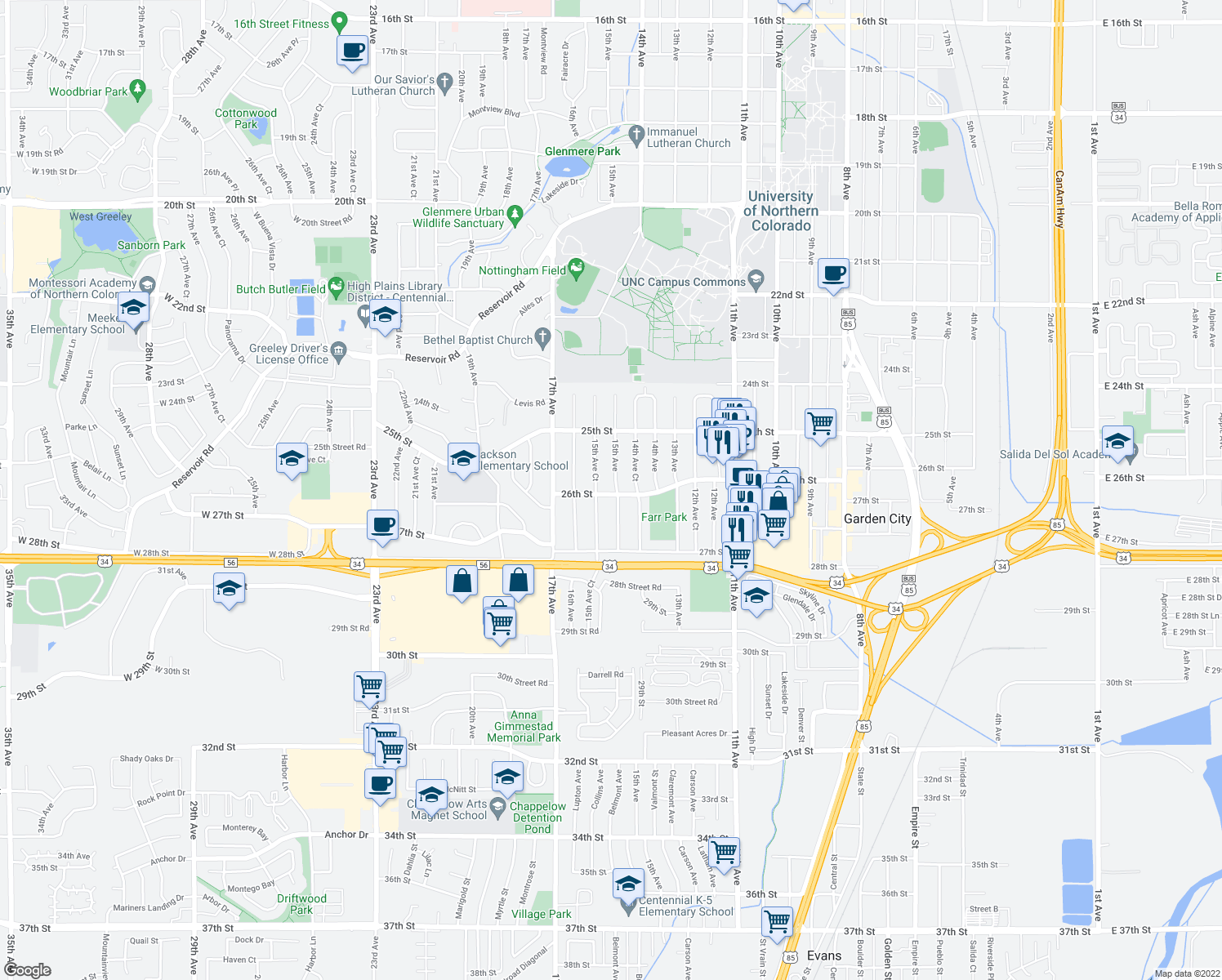 map of restaurants, bars, coffee shops, grocery stores, and more near 1505 26th Street in Greeley