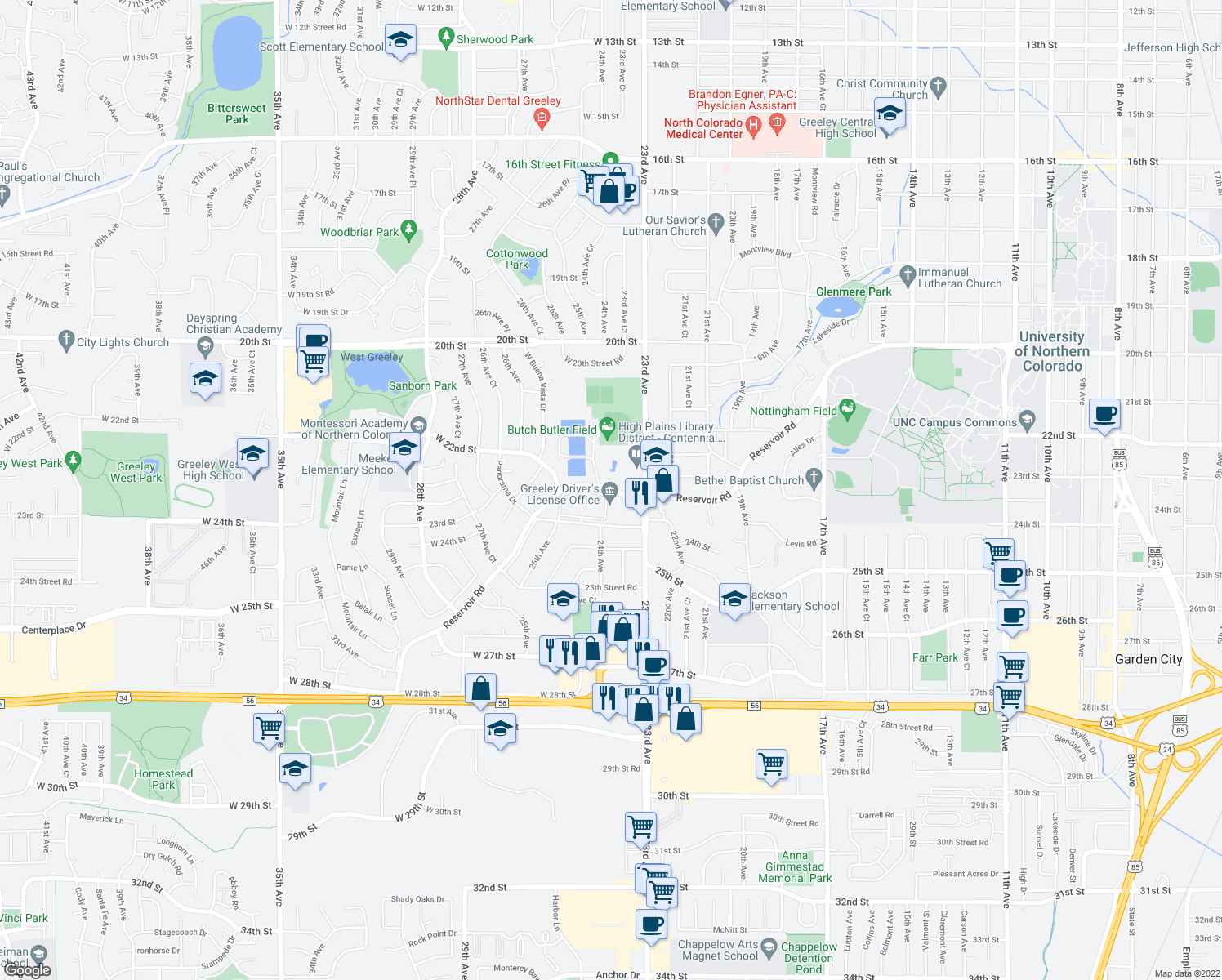 map of restaurants, bars, coffee shops, grocery stores, and more near 2420 West Reservoir Road in Greeley