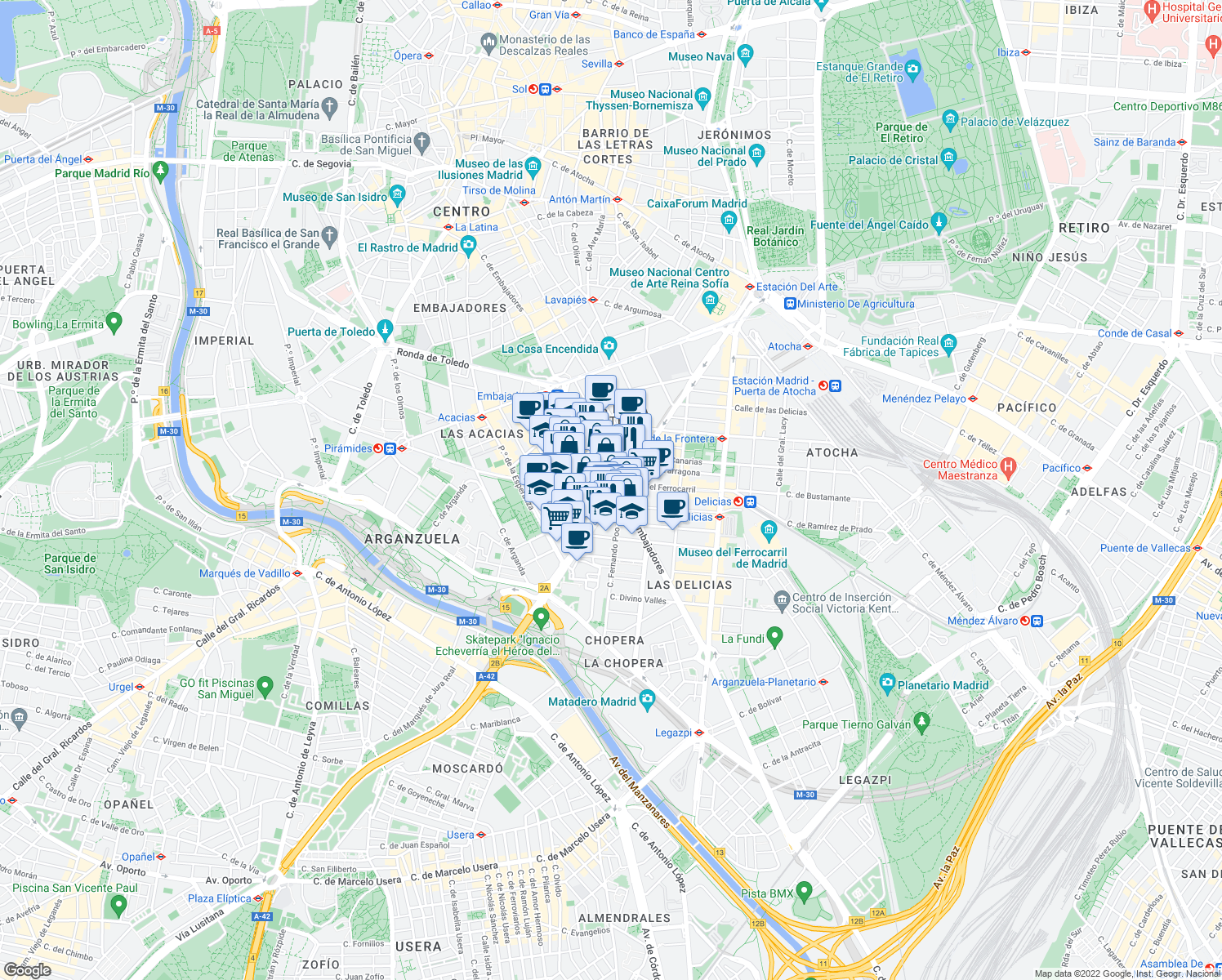 map of restaurants, bars, coffee shops, grocery stores, and more near 66 Paseo del Doctor Vallejo Nágera in Madrid