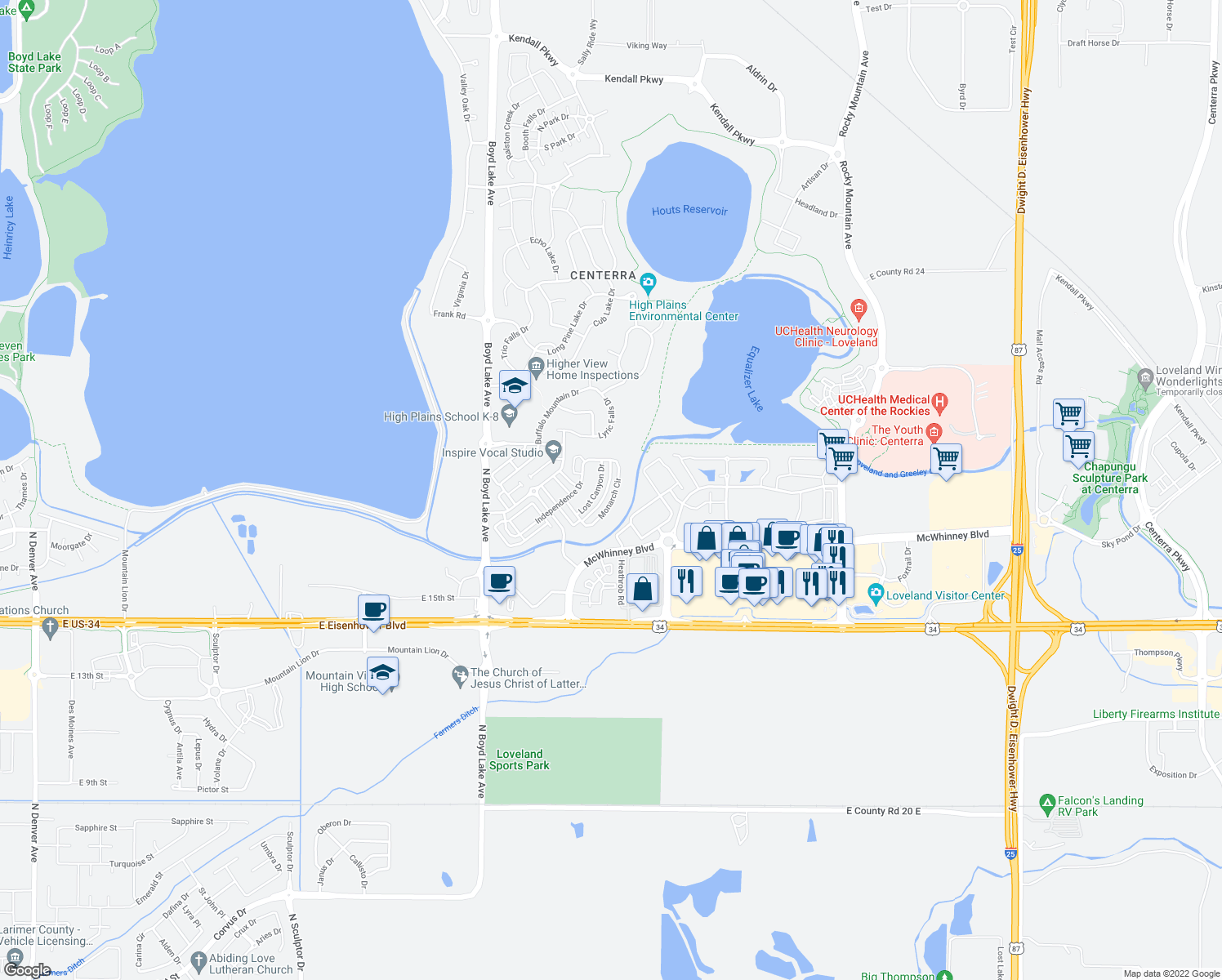 map of restaurants, bars, coffee shops, grocery stores, and more near 1775 Monarch Circle in Loveland