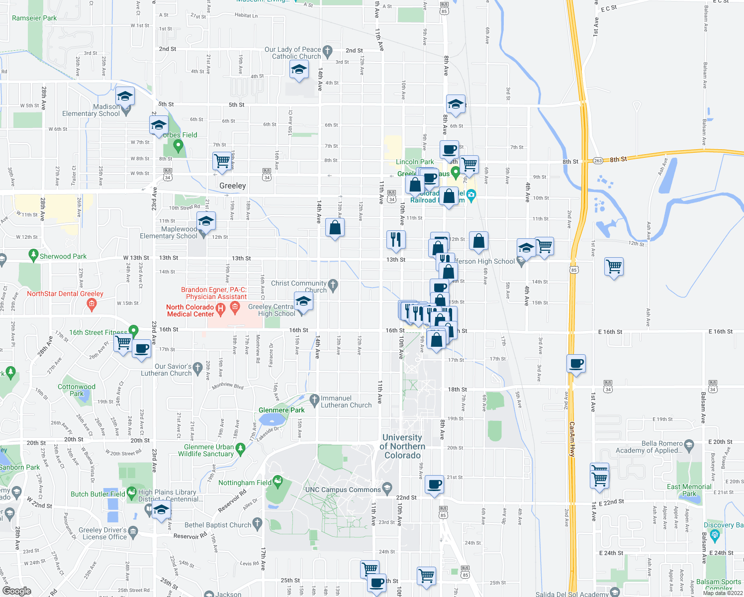 map of restaurants, bars, coffee shops, grocery stores, and more near 1115 15th Street in Greeley
