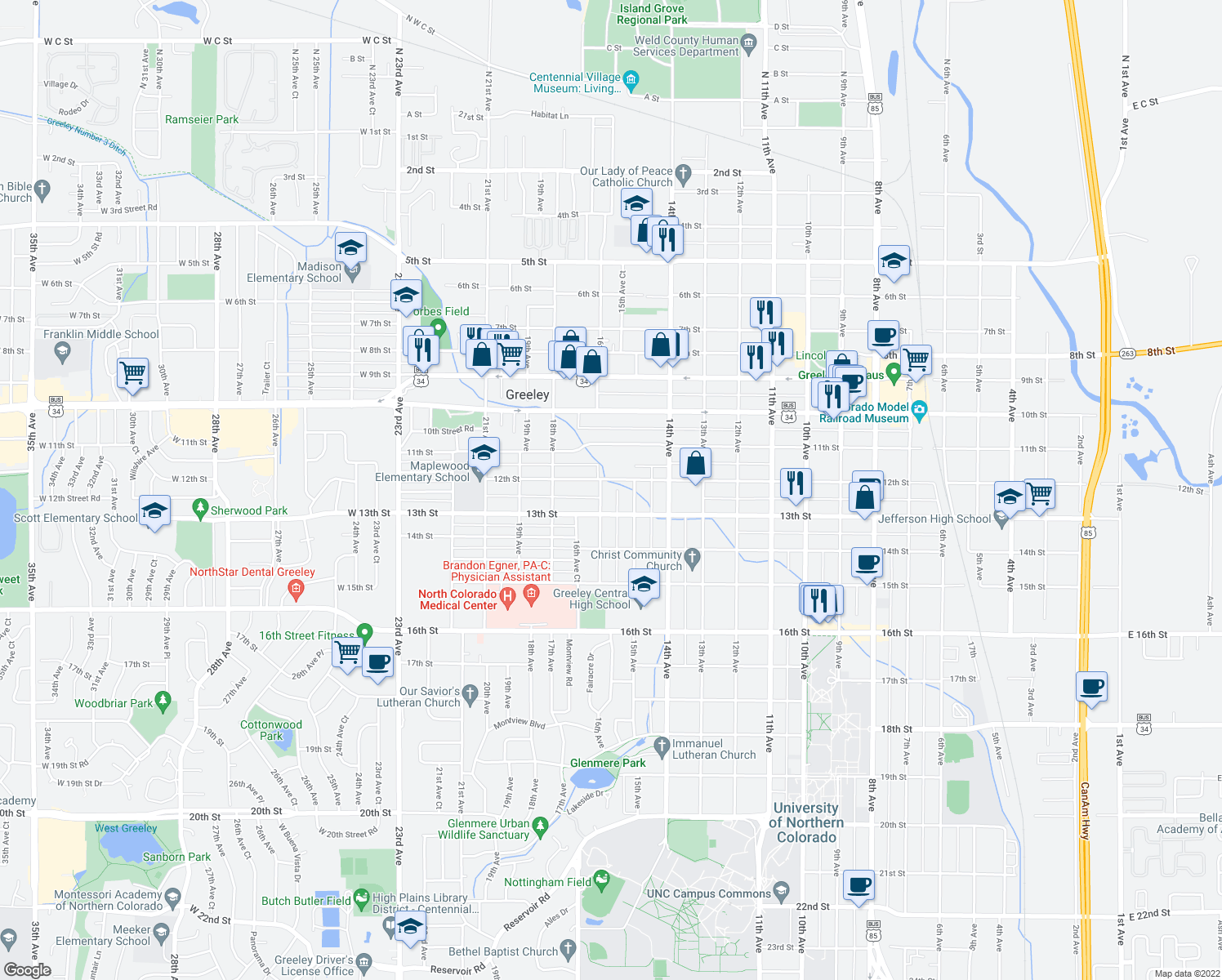 map of restaurants, bars, coffee shops, grocery stores, and more near 1222 16th Avenue in Greeley