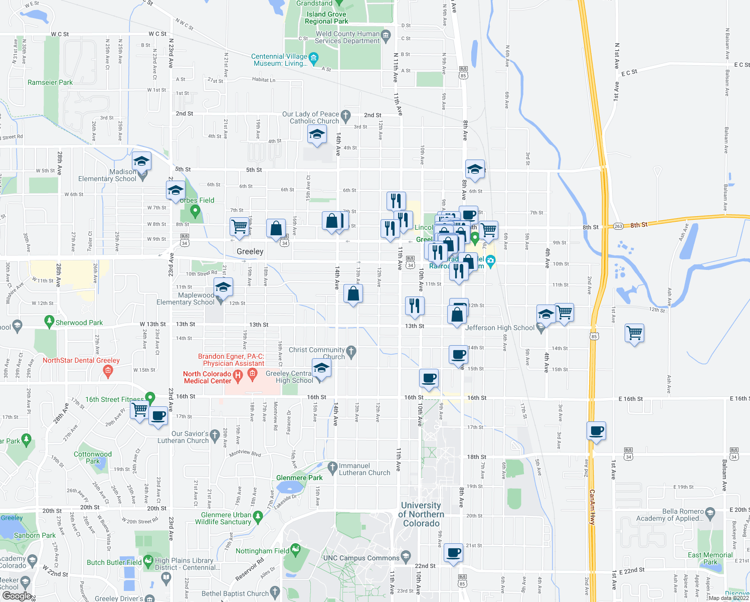 map of restaurants, bars, coffee shops, grocery stores, and more near 1129 12th Avenue in Greeley