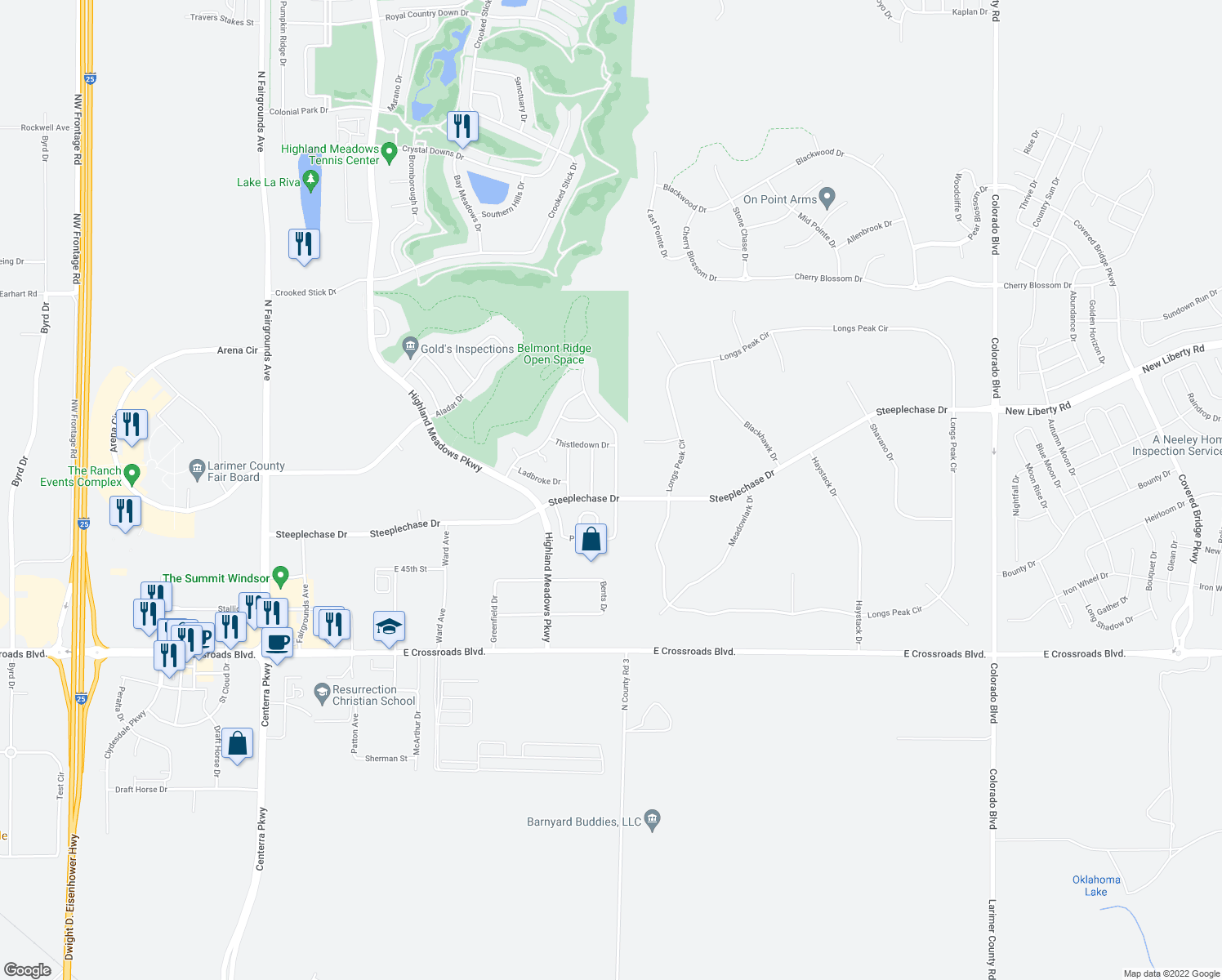 map of restaurants, bars, coffee shops, grocery stores, and more near 5203 Horizon Ridge Drive in Windsor