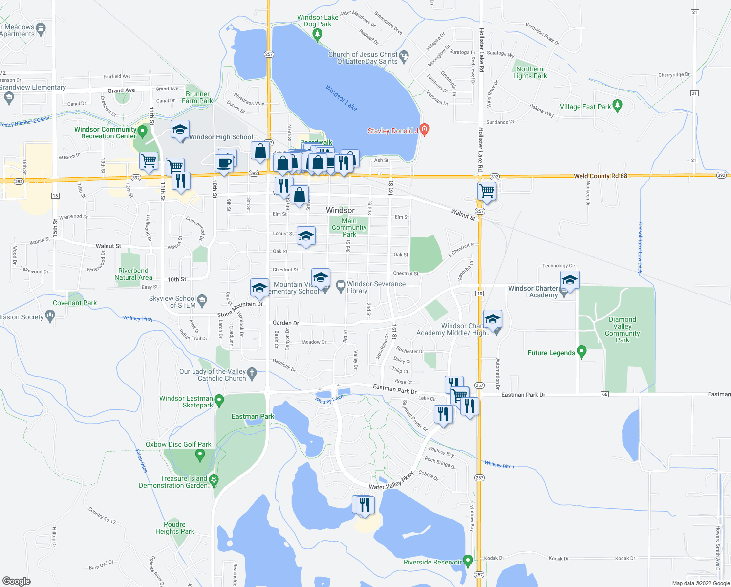 map of restaurants, bars, coffee shops, grocery stores, and more near 240 Maple Court in Windsor