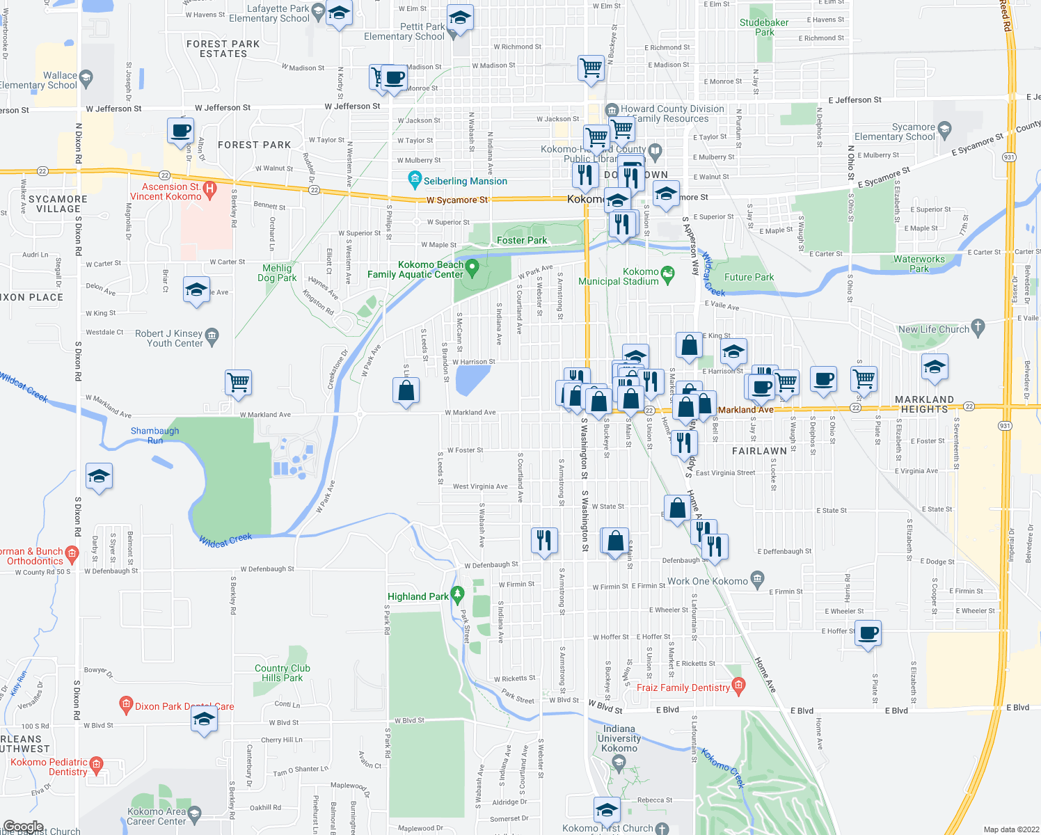 map of restaurants, bars, coffee shops, grocery stores, and more near 519 West Markland Avenue in Kokomo