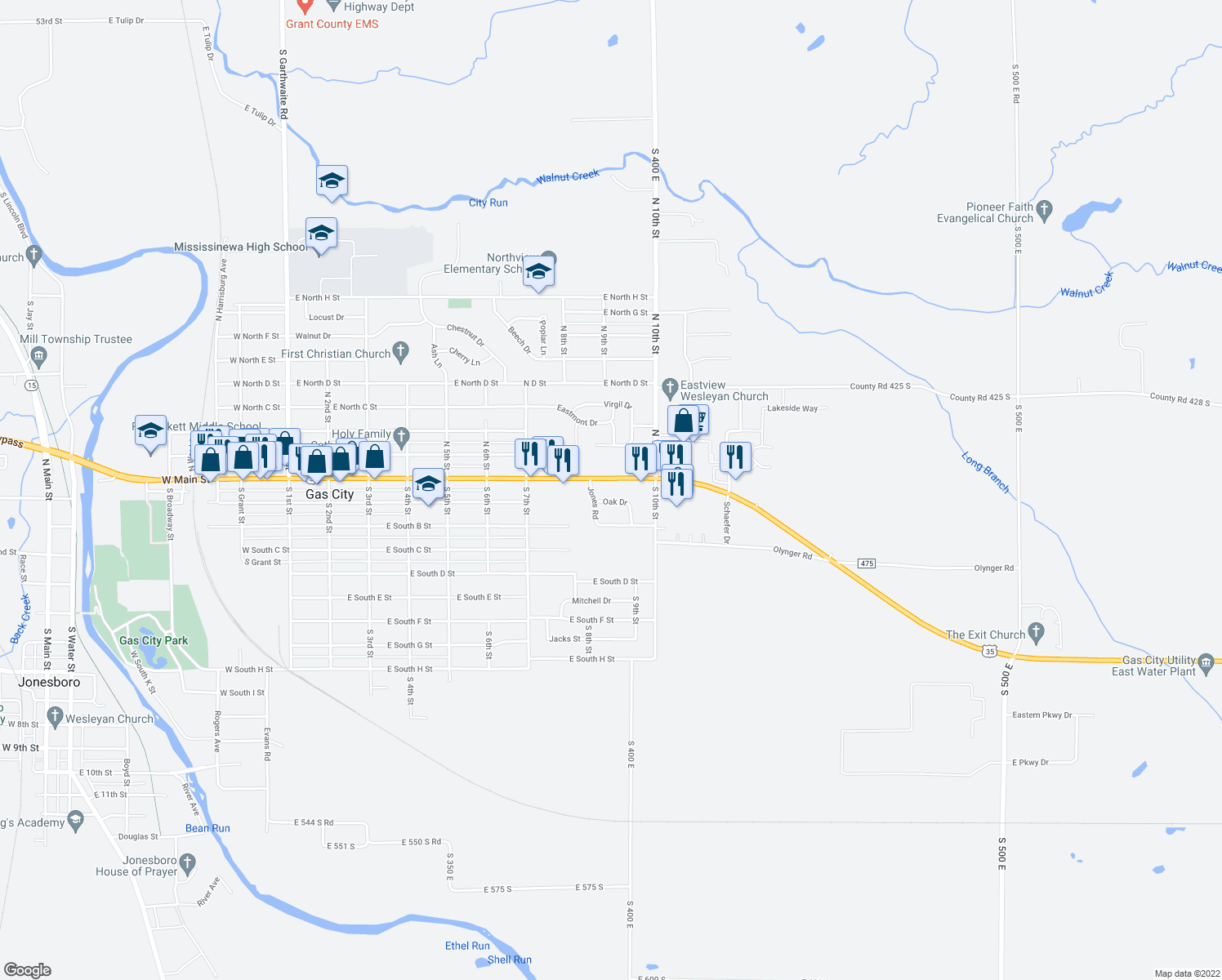 map of restaurants, bars, coffee shops, grocery stores, and more near 801-953 Highway 22 in Gas City