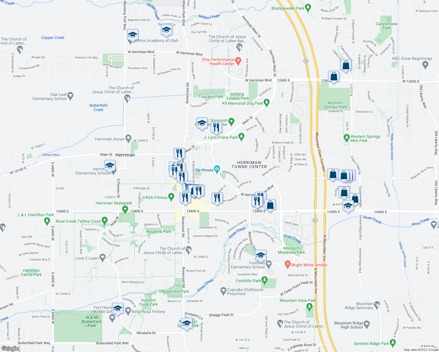 map of restaurants, bars, coffee shops, grocery stores, and more near Herriman Rose Boulevard in Herriman