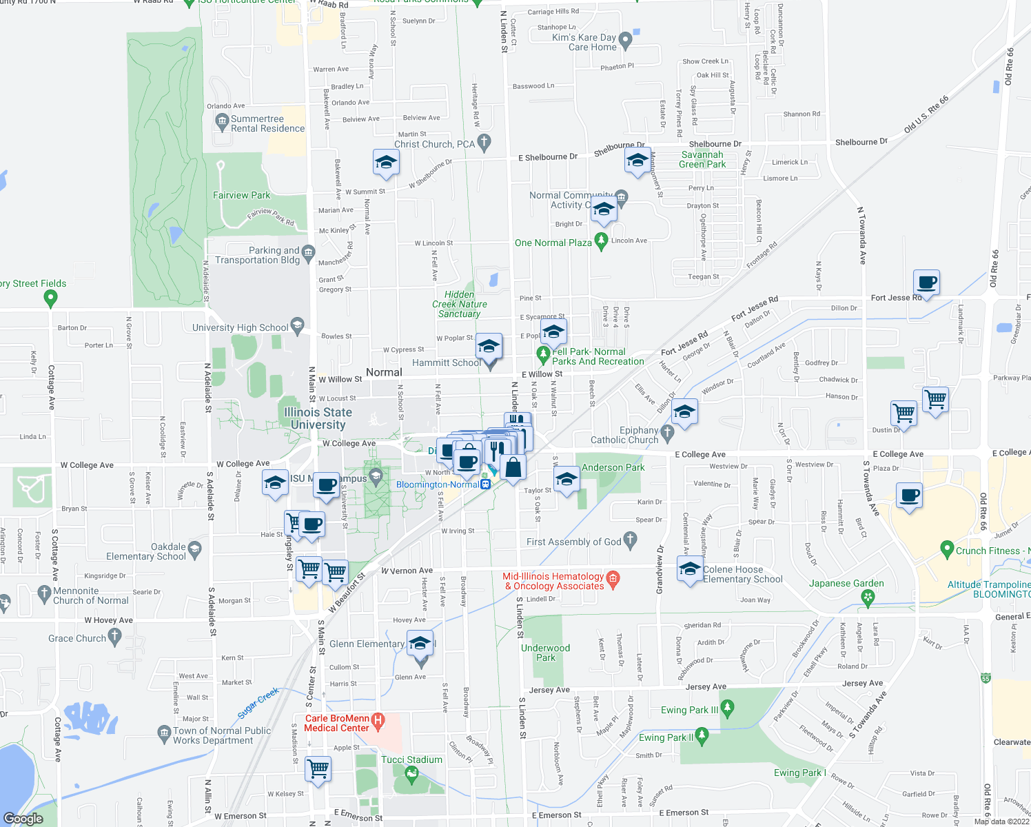 map of restaurants, bars, coffee shops, grocery stores, and more near North Linden Street & East Cherry Street in Normal