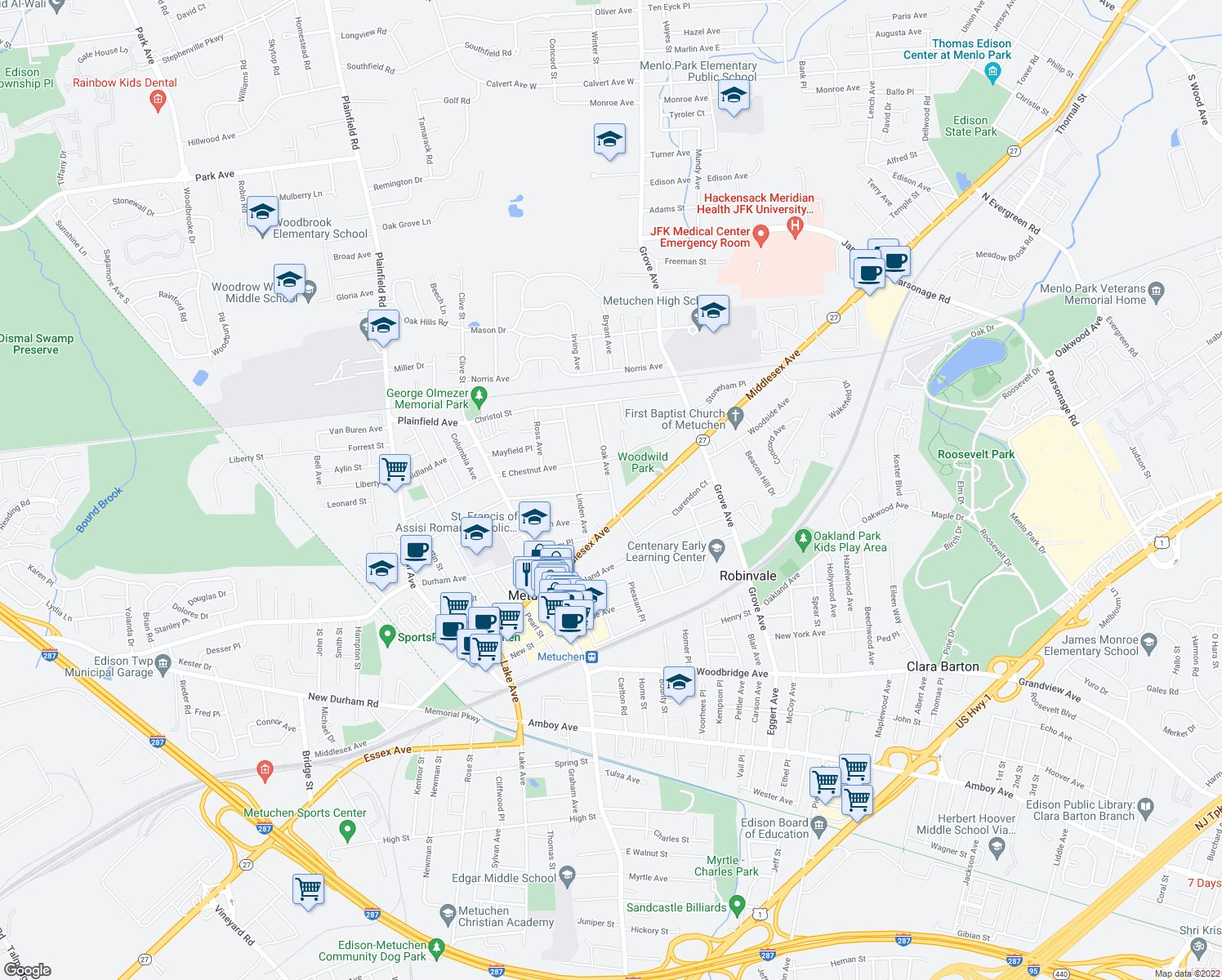 map of restaurants, bars, coffee shops, grocery stores, and more near 39-67 Oak Avenue in Metuchen