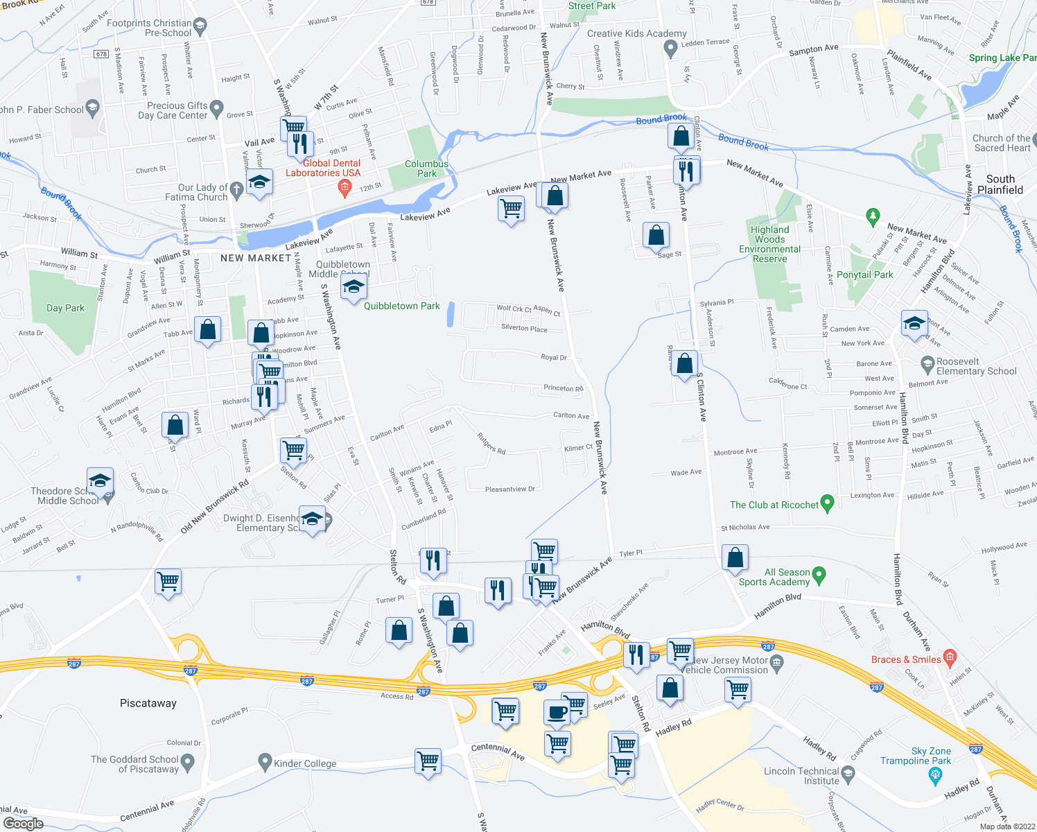 map of restaurants, bars, coffee shops, grocery stores, and more near 206-232 Carlton Avenue in Piscataway Township