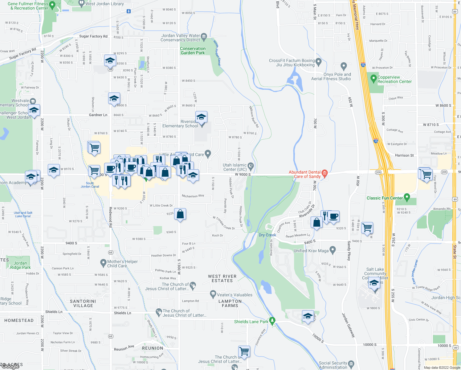 map of restaurants, bars, coffee shops, grocery stores, and more near 1085 West 9000 South in West Jordan