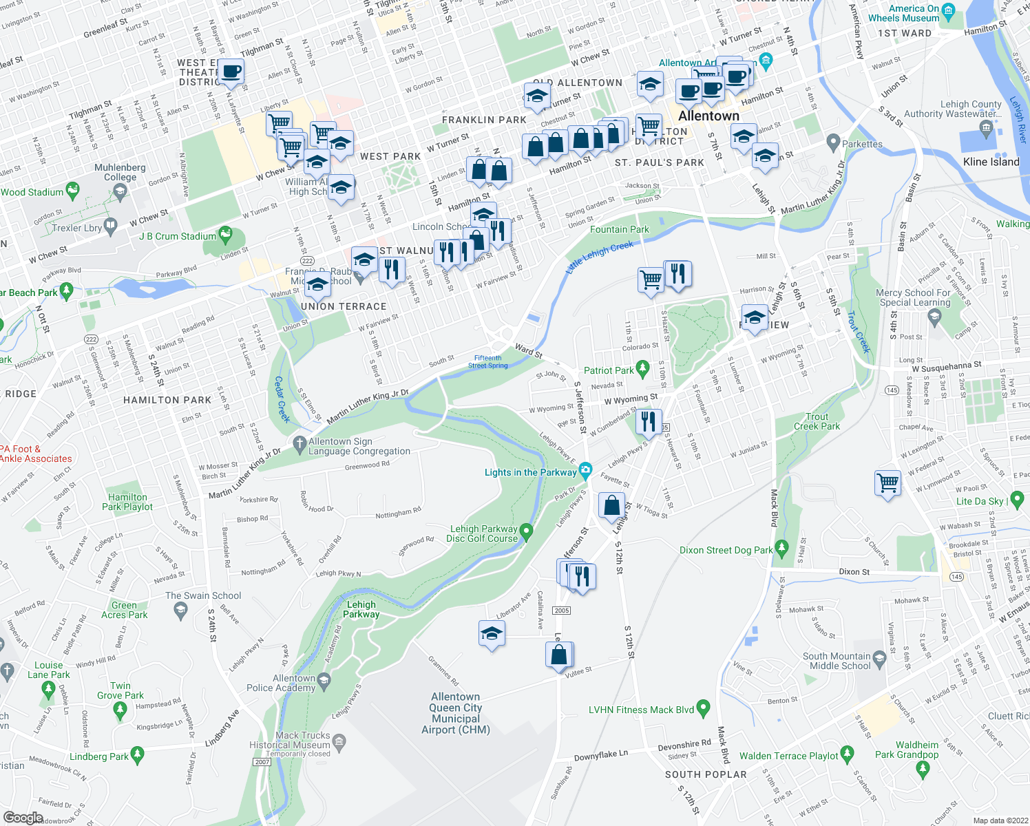 map of restaurants, bars, coffee shops, grocery stores, and more near 948 South 14th Street in Allentown