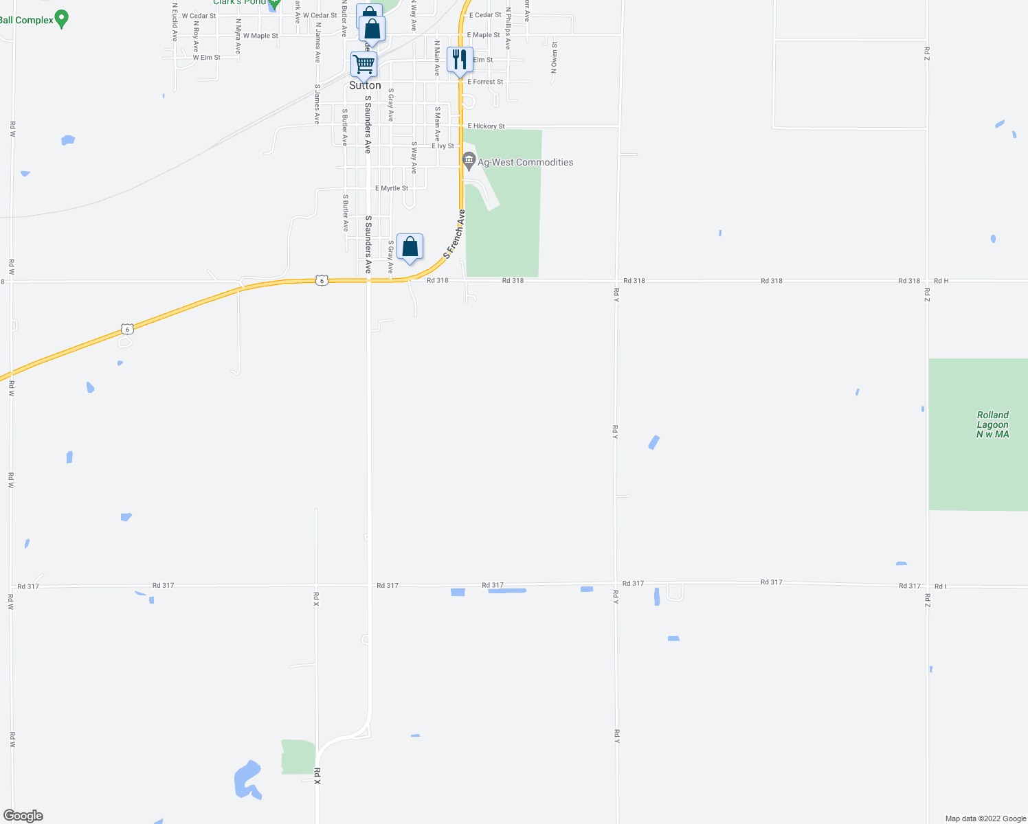 map of restaurants, bars, coffee shops, grocery stores, and more near Road 318 in Sutton