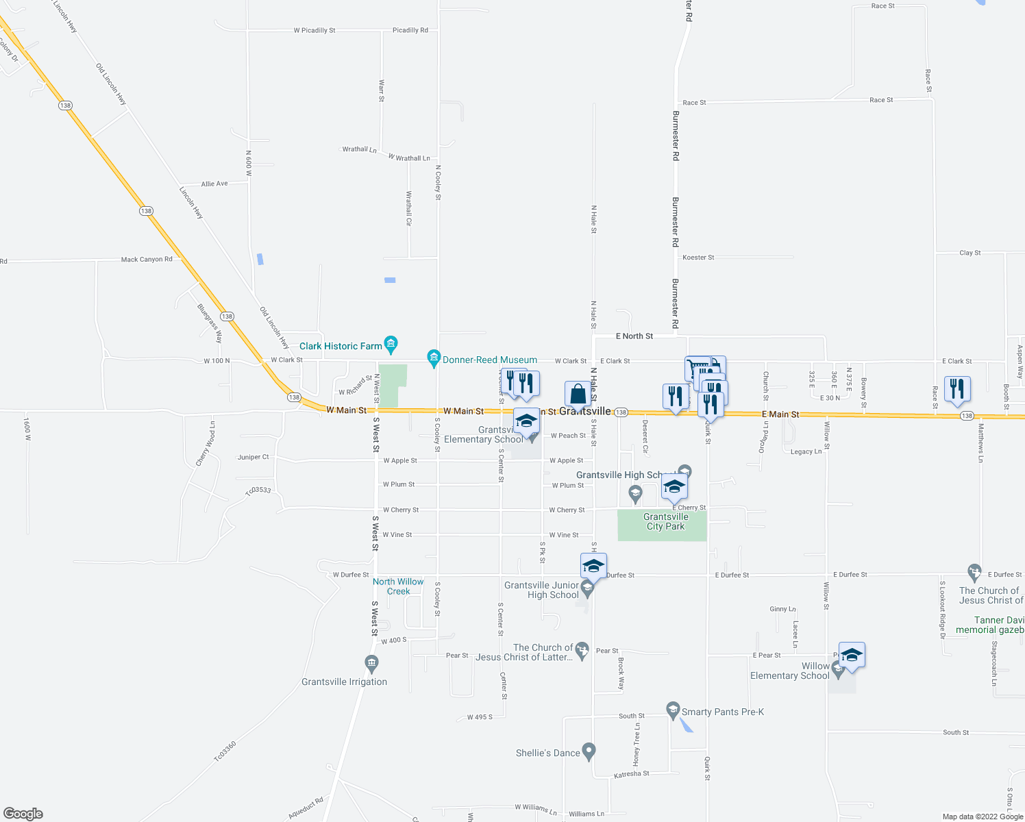 map of restaurants, bars, coffee shops, grocery stores, and more near 154 West Main Street in Grantsville
