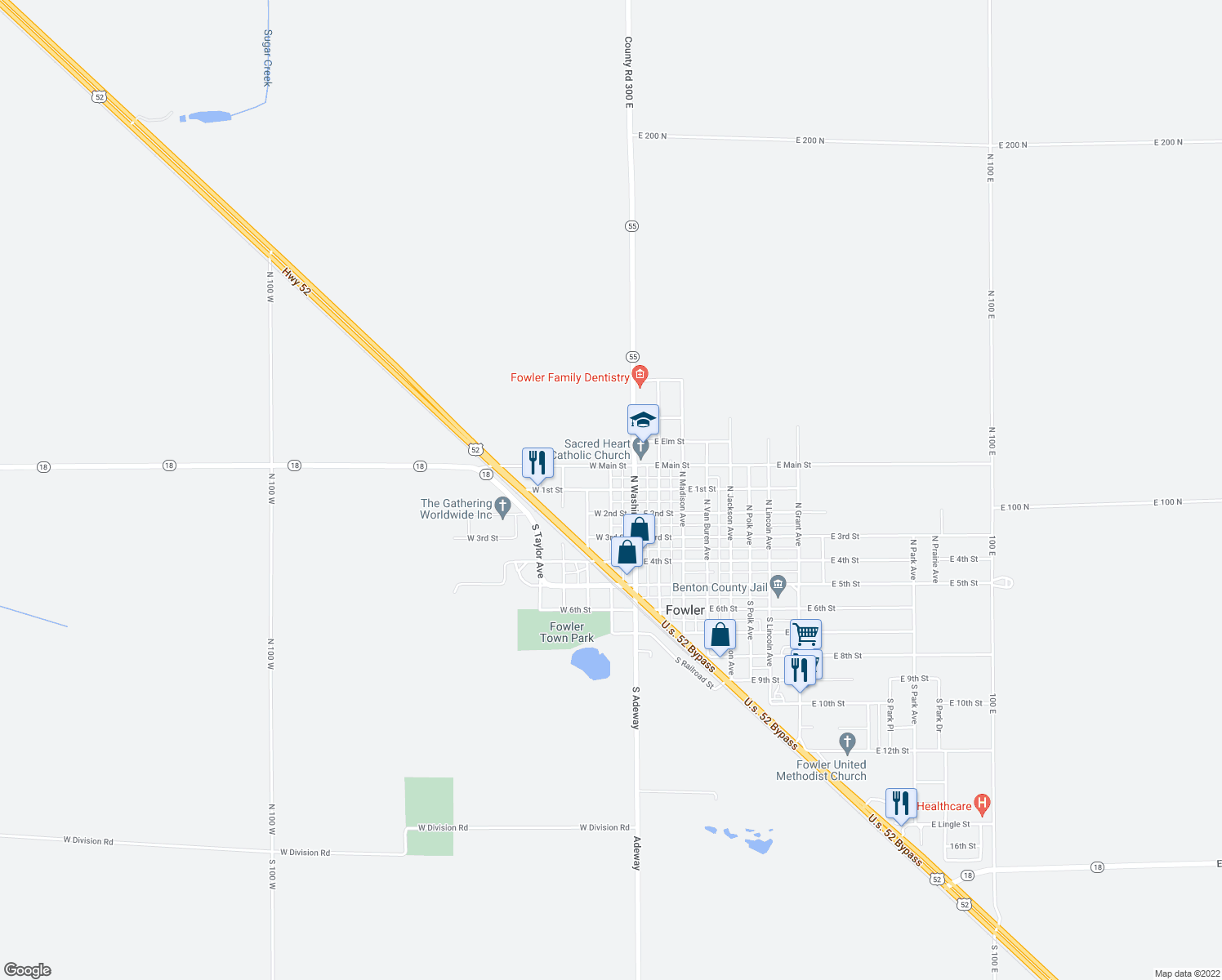 map of restaurants, bars, coffee shops, grocery stores, and more near in Fowler