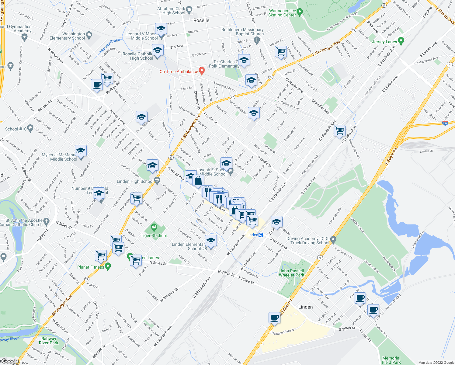 map of restaurants, bars, coffee shops, grocery stores, and more near 507 Washington Avenue in Linden