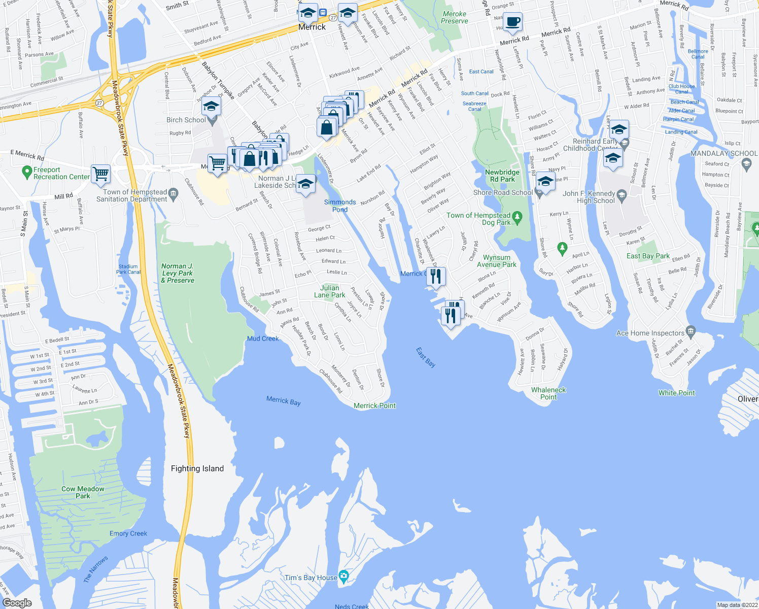 map of restaurants, bars, coffee shops, grocery stores, and more near 2948 Shore Drive in Merrick
