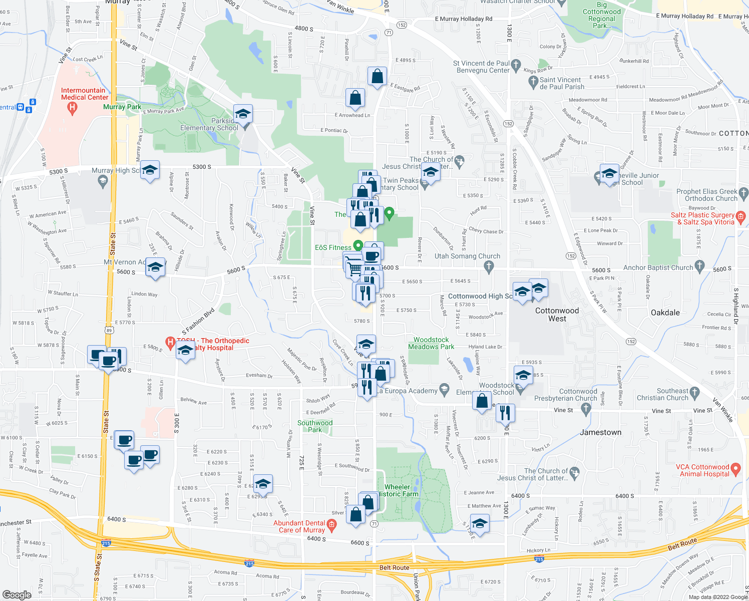 map of restaurants, bars, coffee shops, grocery stores, and more near 5734 South 920 East in Murray