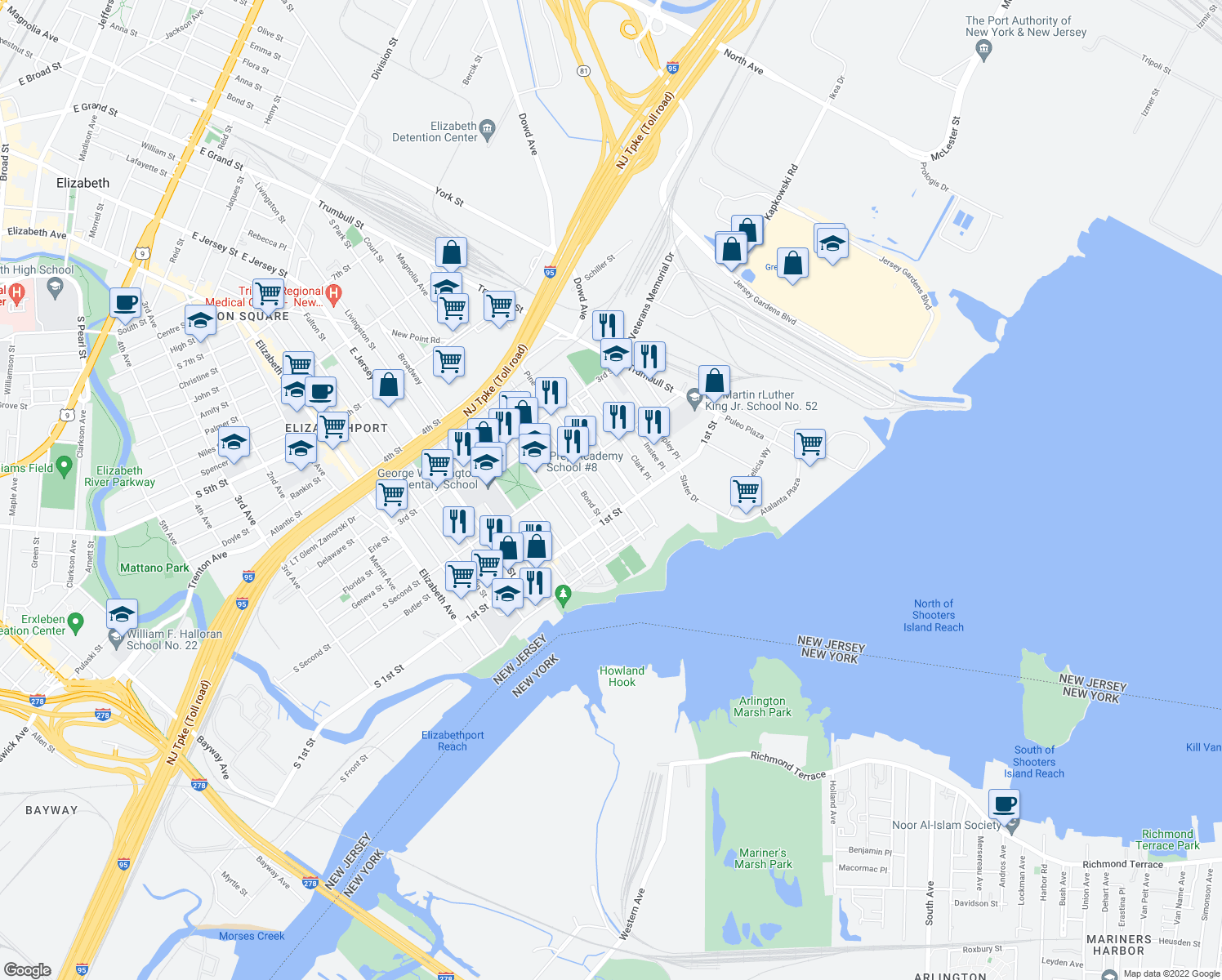 map of restaurants, bars, coffee shops, grocery stores, and more near 111 Pine Street in Elizabeth