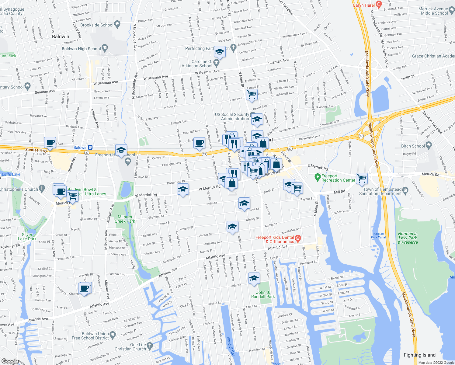map of restaurants, bars, coffee shops, grocery stores, and more near 190 West Merrick Road in Freeport