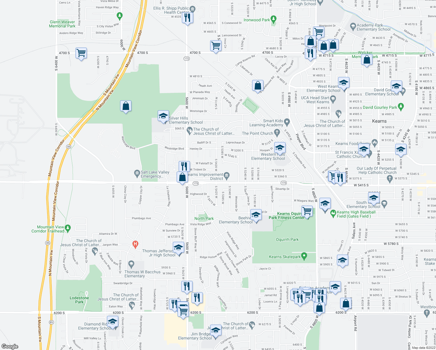map of restaurants, bars, coffee shops, grocery stores, and more near 5321 South 5420 West in Kearns
