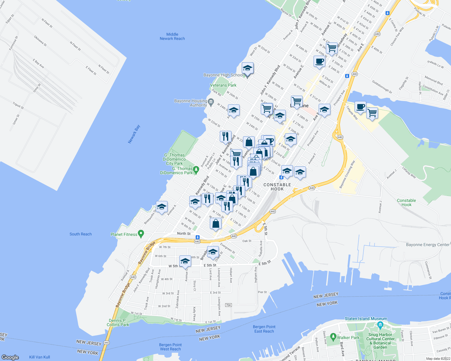 map of restaurants, bars, coffee shops, grocery stores, and more near 76-78 West 16th Street in Bayonne