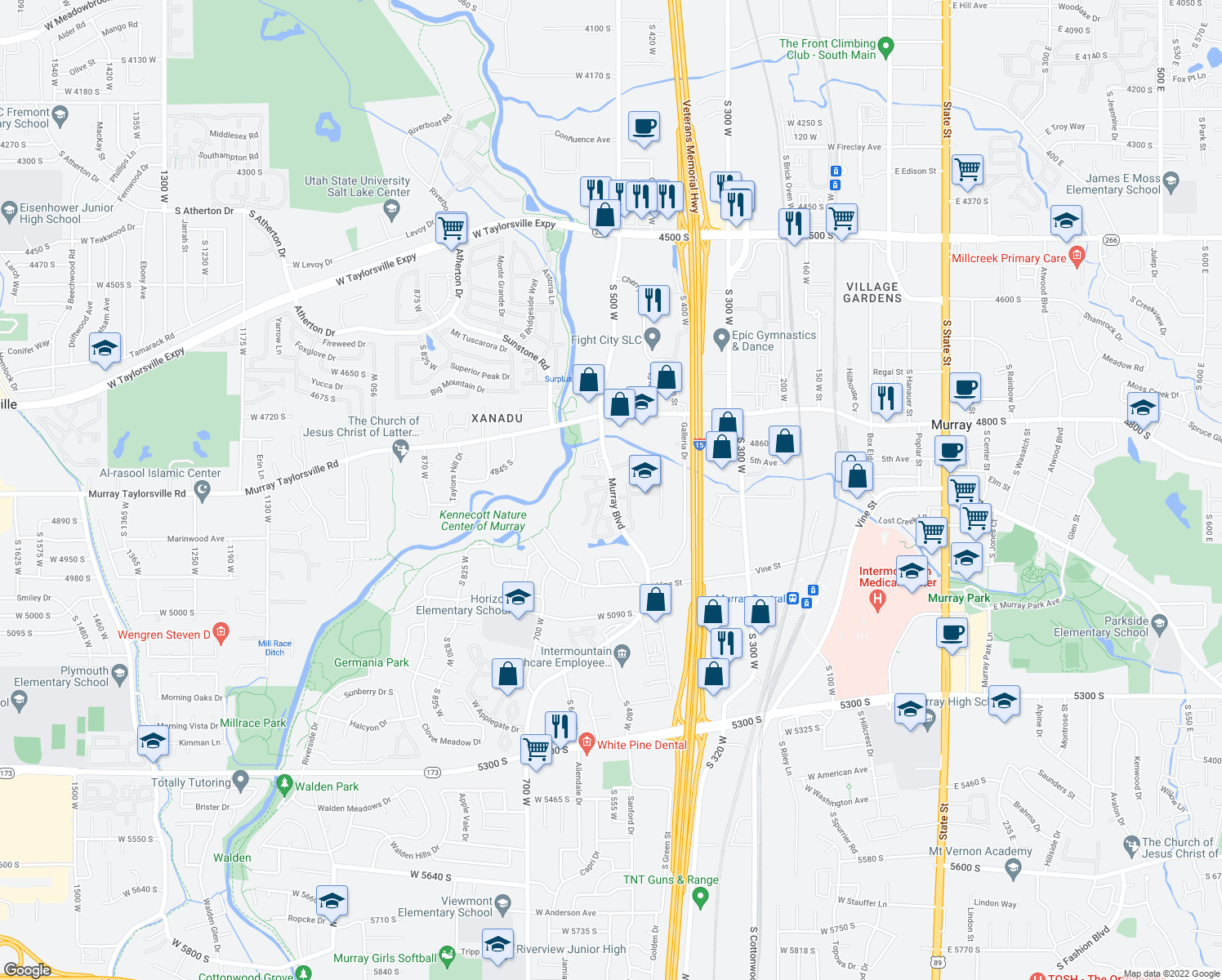 map of restaurants, bars, coffee shops, grocery stores, and more near 4911-4917 Murray Boulevard in Murray