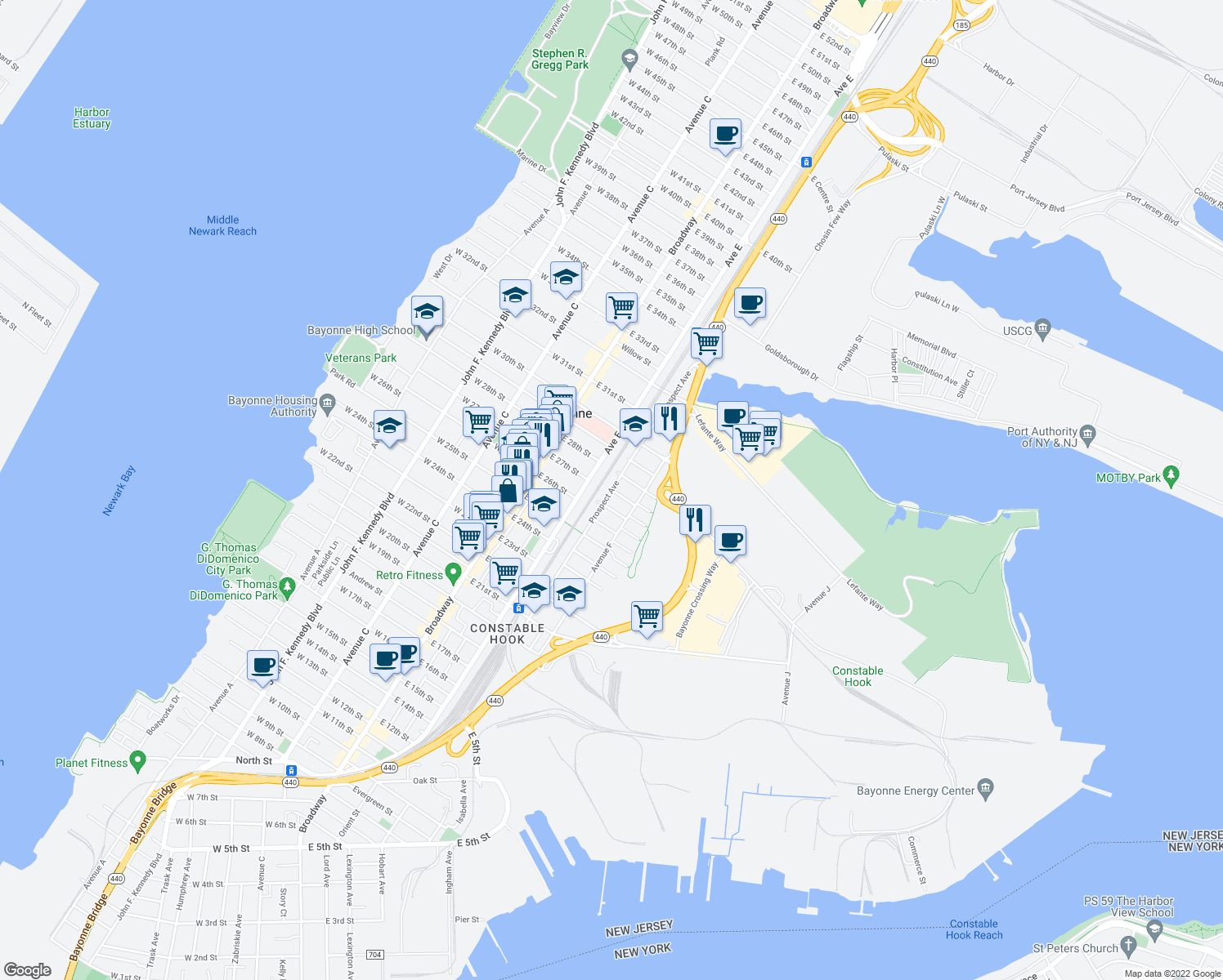 map of restaurants, bars, coffee shops, grocery stores, and more near Prospect Avenue & East 27th Street in Bayonne