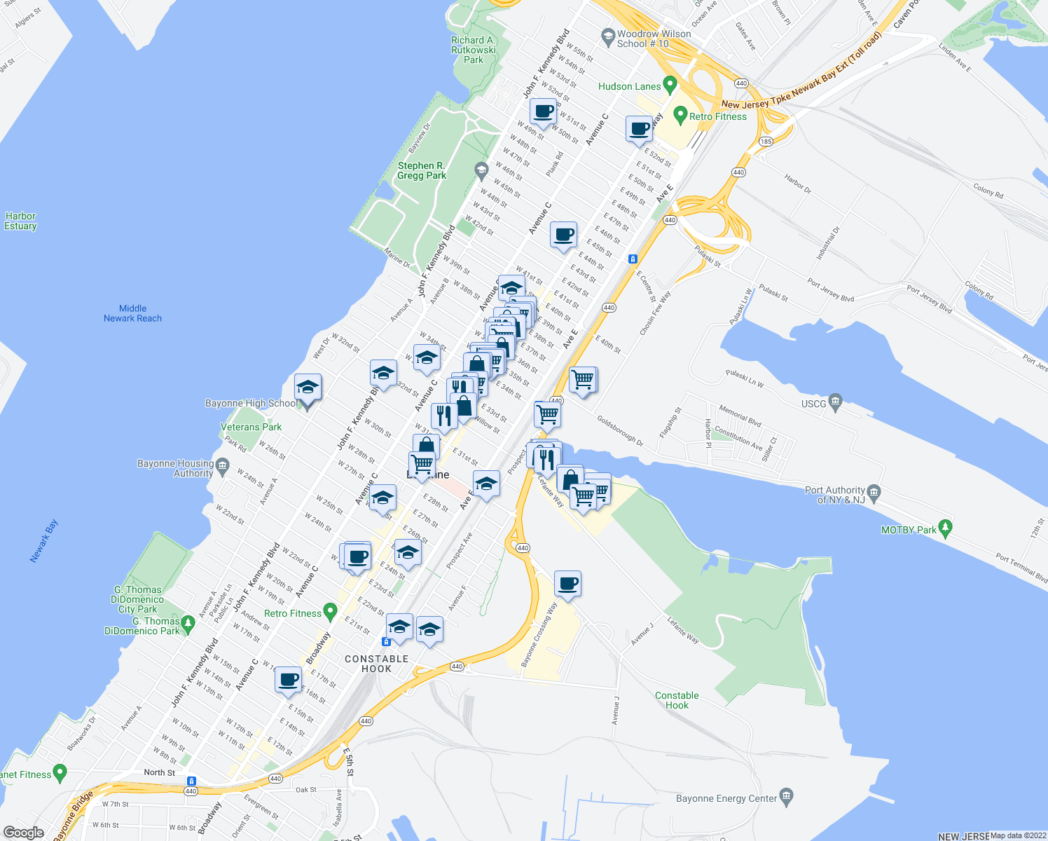 map of restaurants, bars, coffee shops, grocery stores, and more near 509 Avenue E in Bayonne