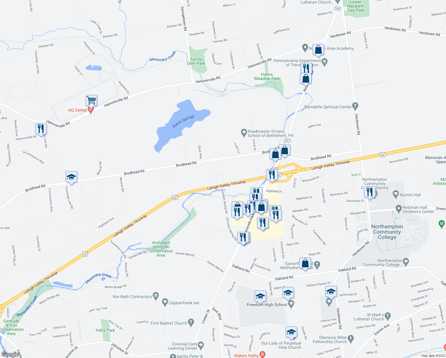 map of restaurants, bars, coffee shops, grocery stores, and more near 4016 Christian Spring Rd in Bethlehem