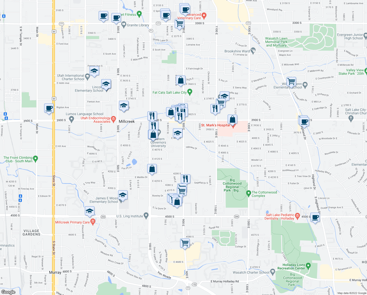 map of restaurants, bars, coffee shops, grocery stores, and more near 4113-4123 900 East in Millcreek