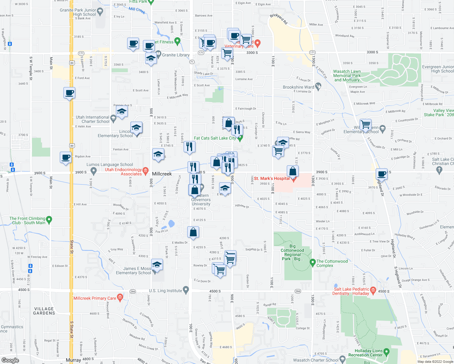 map of restaurants, bars, coffee shops, grocery stores, and more near 839 East 3950 South in Millcreek