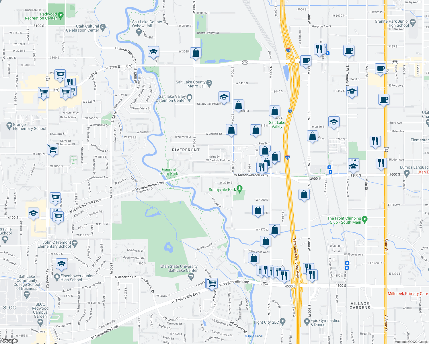 map of restaurants, bars, coffee shops, grocery stores, and more near 853-899 West Timbercreek Way in South Salt Lake
