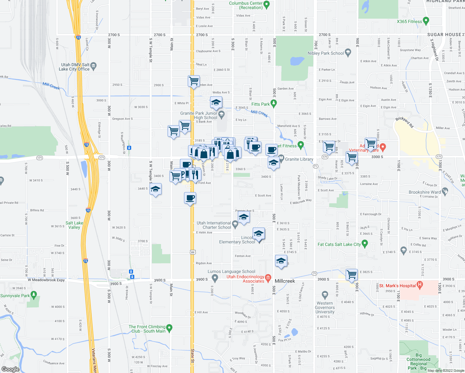 map of restaurants, bars, coffee shops, grocery stores, and more near 3440 335 East in South Salt Lake