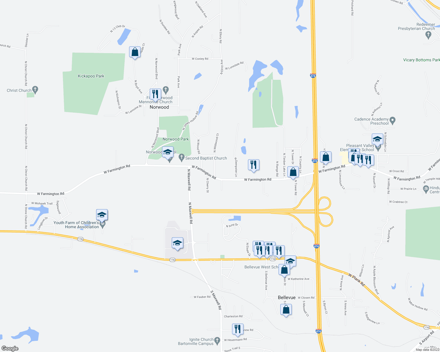 map of restaurants, bars, coffee shops, grocery stores, and more near 6105 West Farmington Road in Peoria