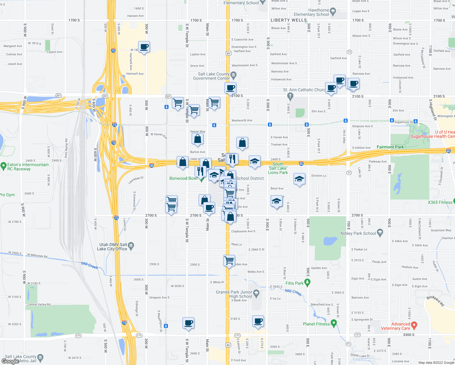 map of restaurants, bars, coffee shops, grocery stores, and more near 2507 South State Street in Salt Lake City