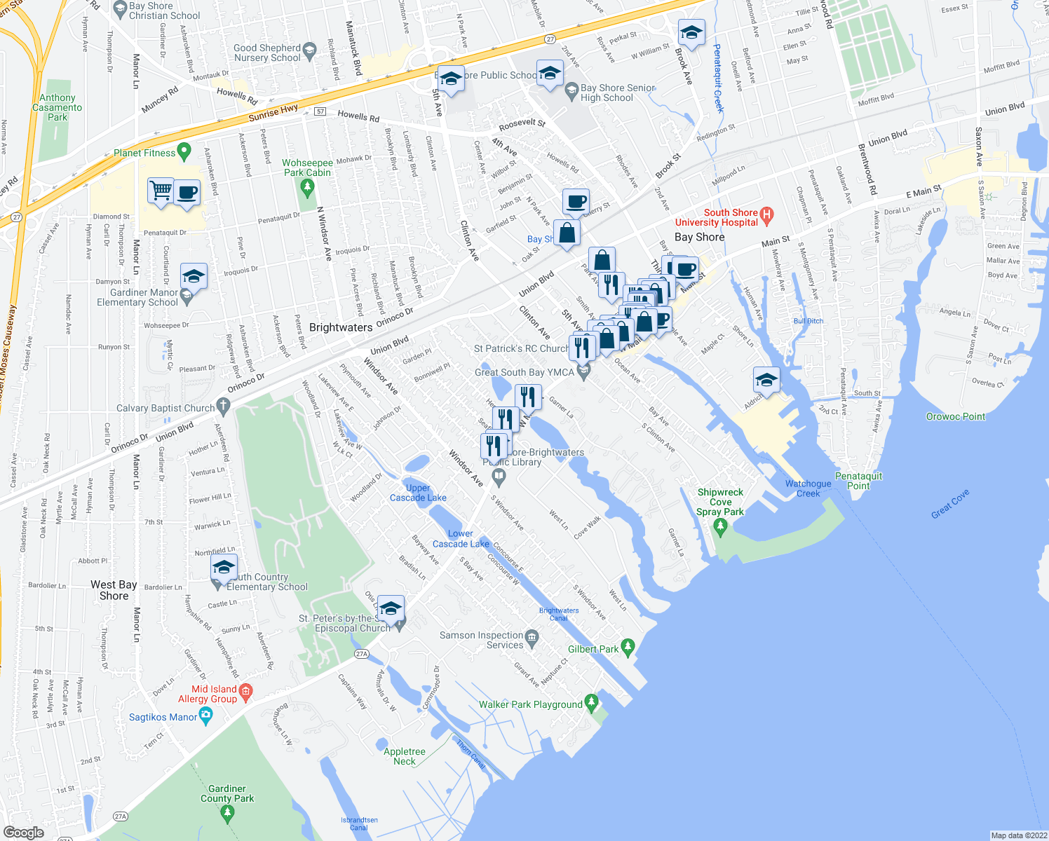 map of restaurants, bars, coffee shops, grocery stores, and more near 260 Montauk Highway in Bay Shore