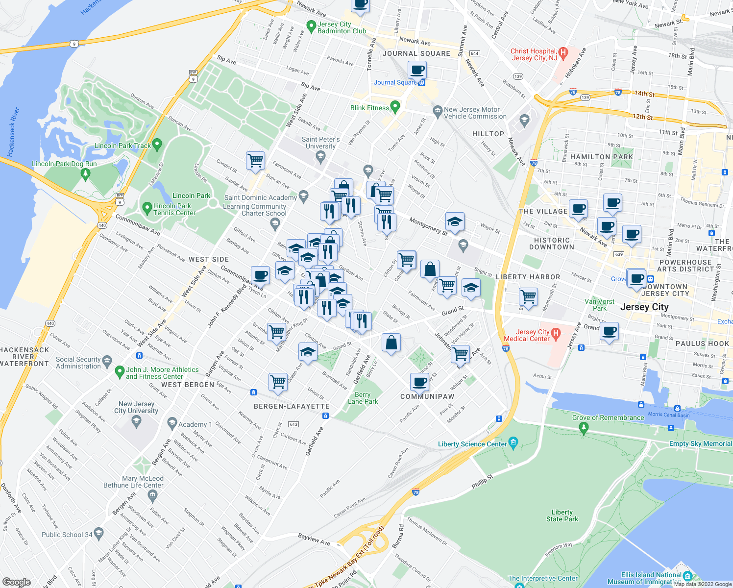 map of restaurants, bars, coffee shops, grocery stores, and more near Summit Avenue & Belmont Avenue in Jersey City