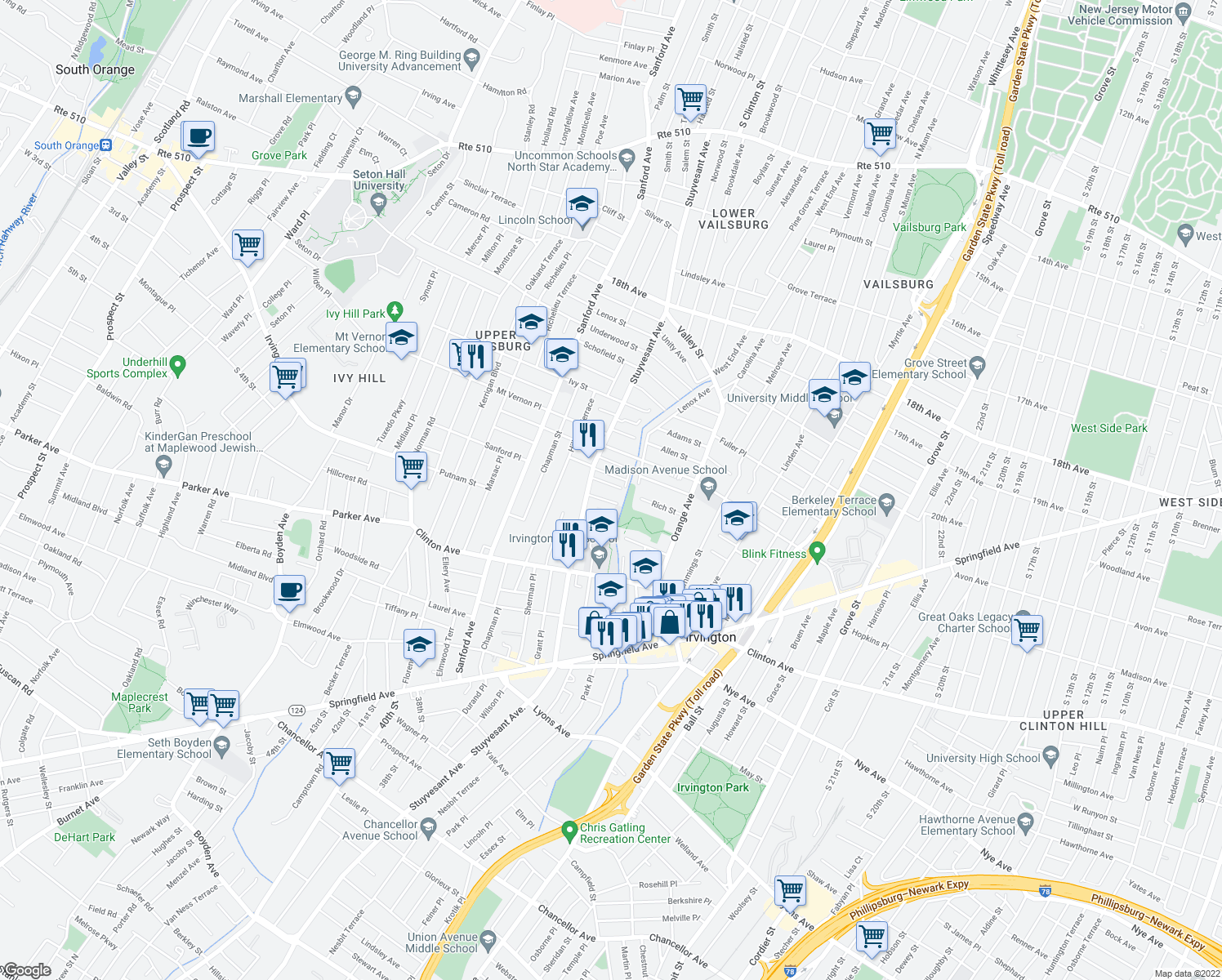 map of restaurants, bars, coffee shops, grocery stores, and more near 87 West Rich Street in Irvington